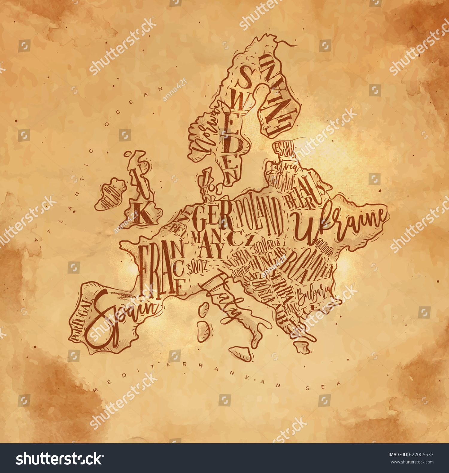 Vintage Europe Map Countries Inscription Uk Stock Vector - Norway map drawing