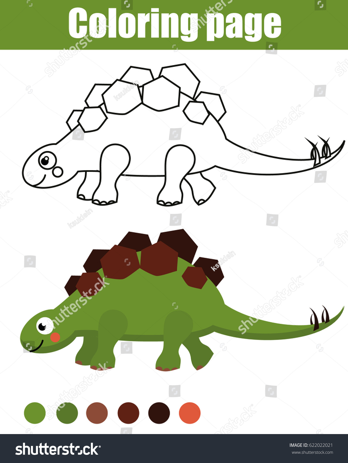 Coloring Page Cute Dinosaur Children Educational Stock Vector ...