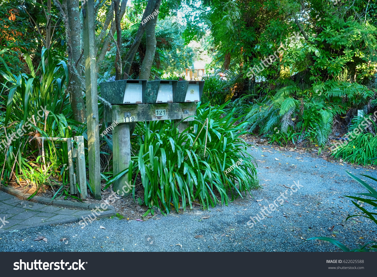 Three Letter Boxes Near Bushes Trees Stock Photo (Edit Now