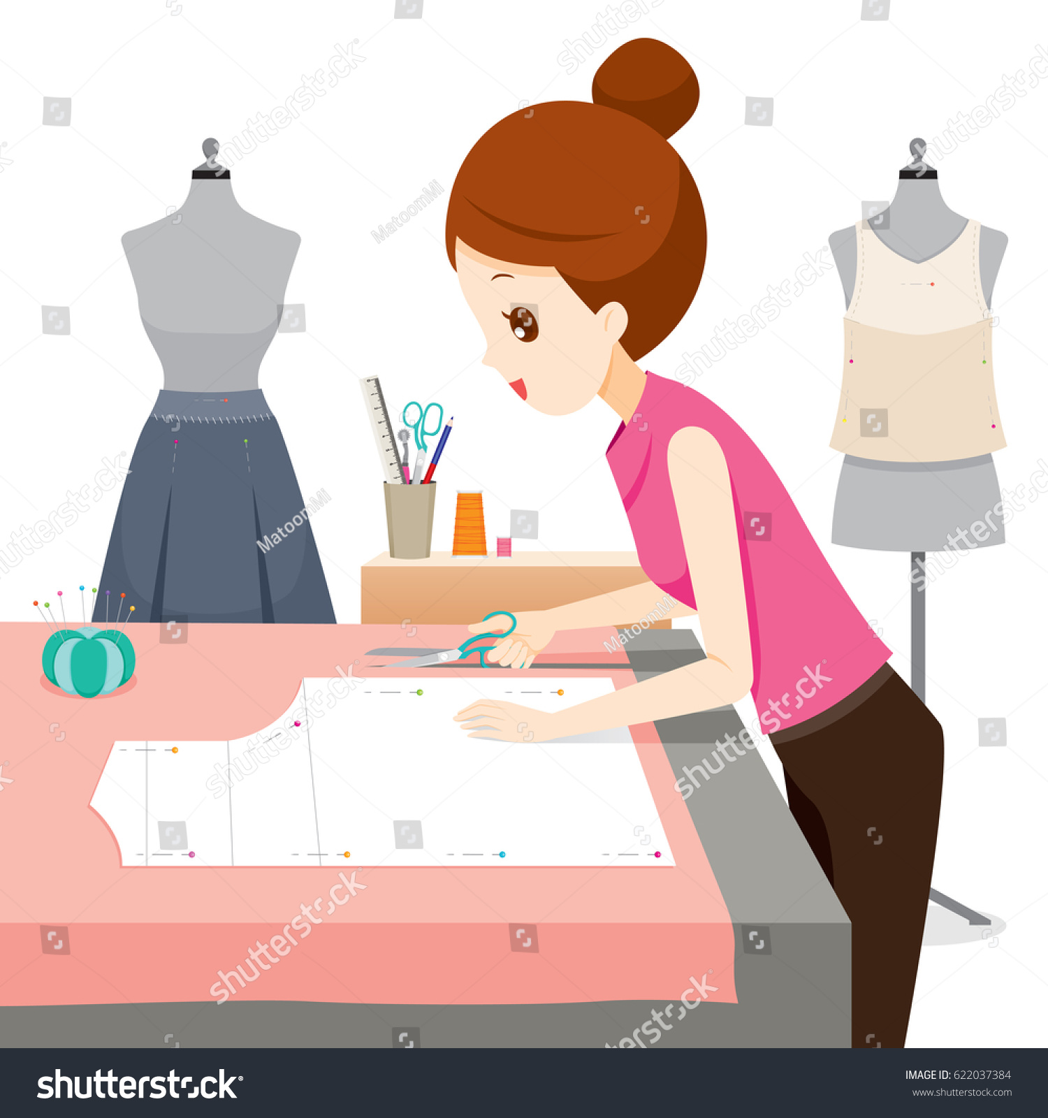 Woman Making Clothes Pattern Needlework Tailor Stock ...