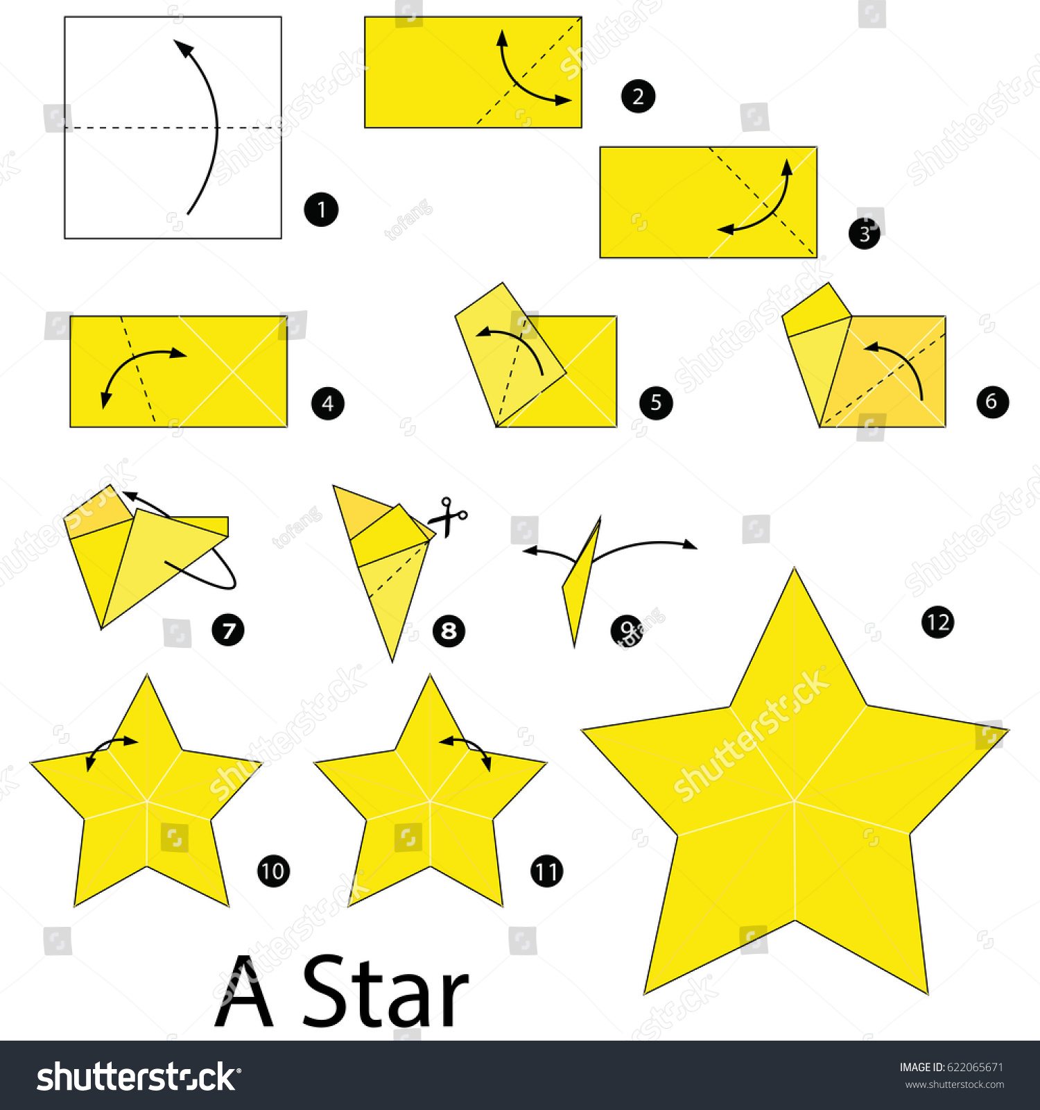 Step by step instructions how make stock vector 622065671 for How to make a star with paper step by step