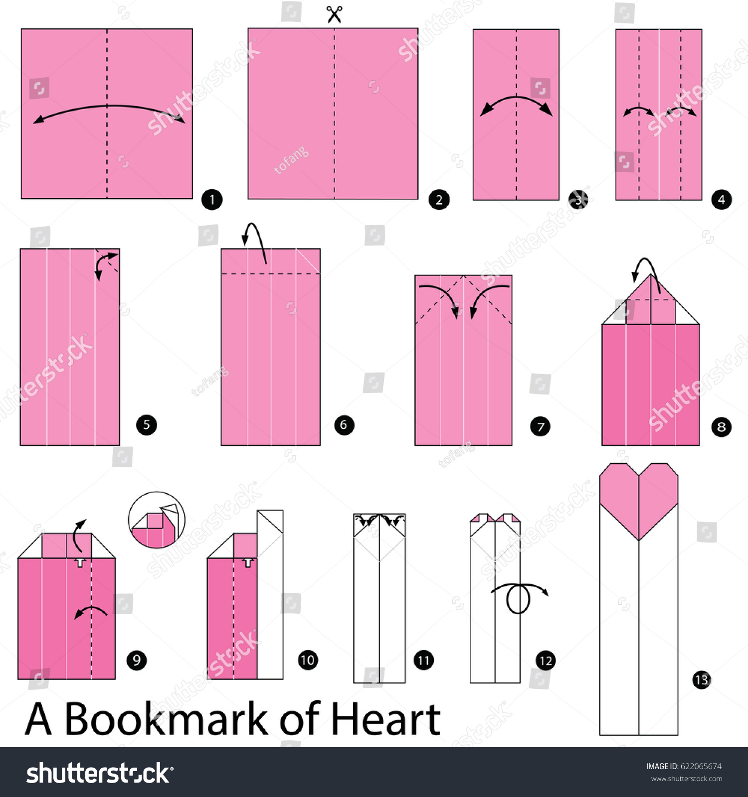 how to make an origami heart step by step