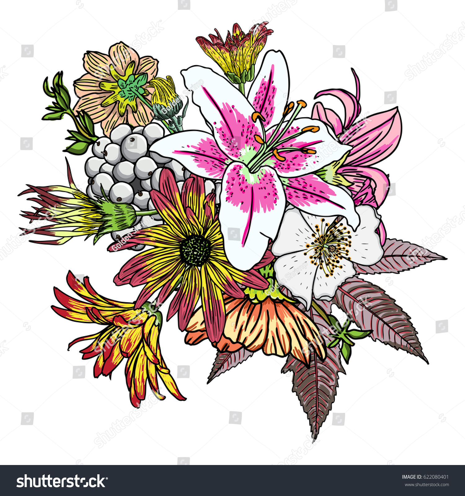 Vintage Garden Drawing Spring Bouquet With Various Flowers And