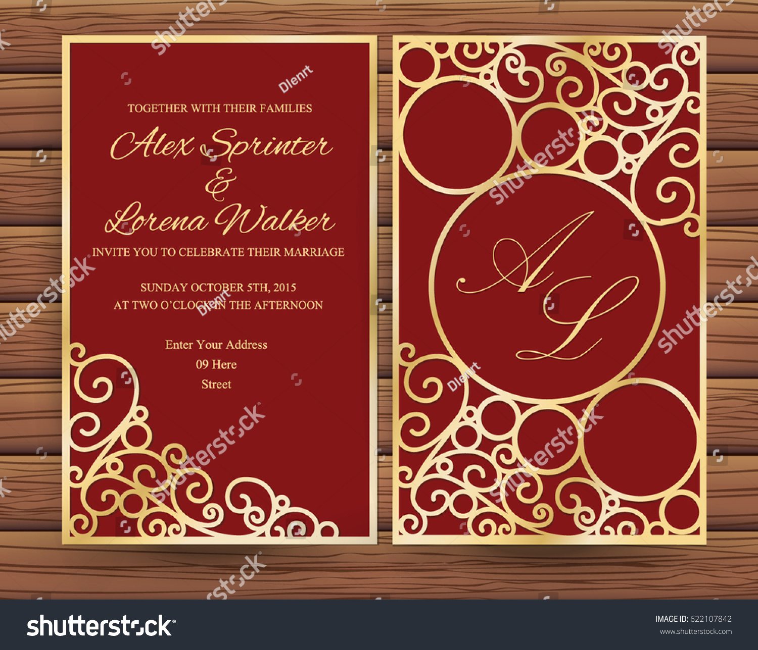 Elegant Red Gold Wedding Invitation Stock Vector 622107842 ...