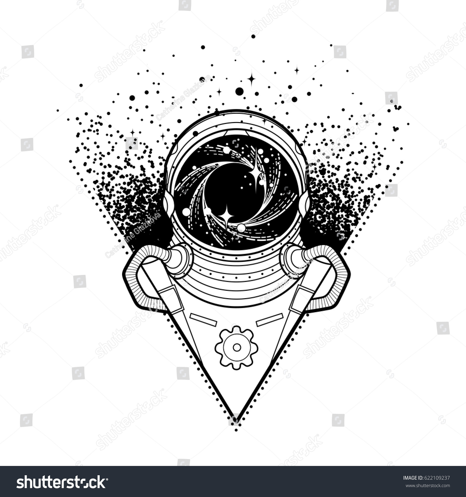 Graphic astronaut black hole starry vortex stock vector for Black hole coloring page