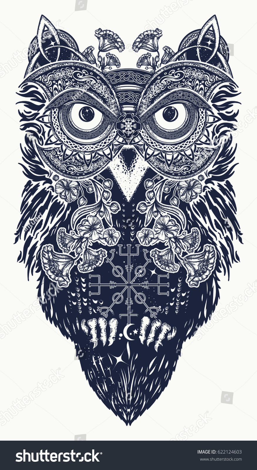 Owl tattoo art owl ethnic celtic stock vector 622124603 shutterstock owl in ethnic celtic style t shirt design owl tattoo biocorpaavc Gallery