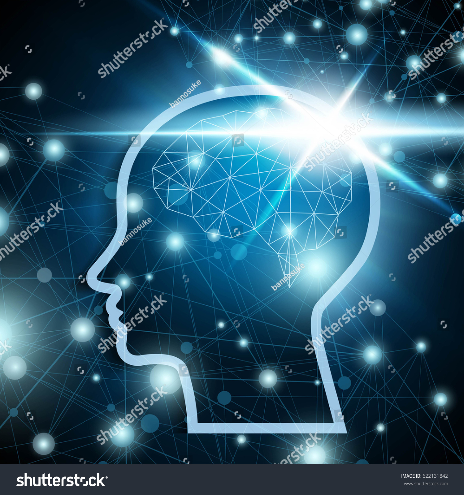 Polygonal brain with shiny light over the dark blue network ...
