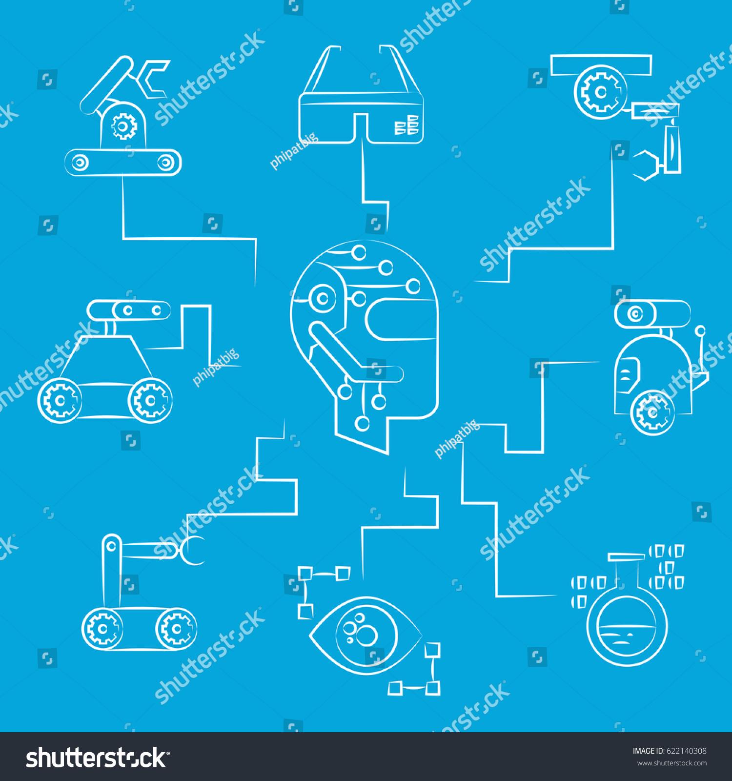 Robotics Concept Diagram Blue Background Stock Vector Royalty Free