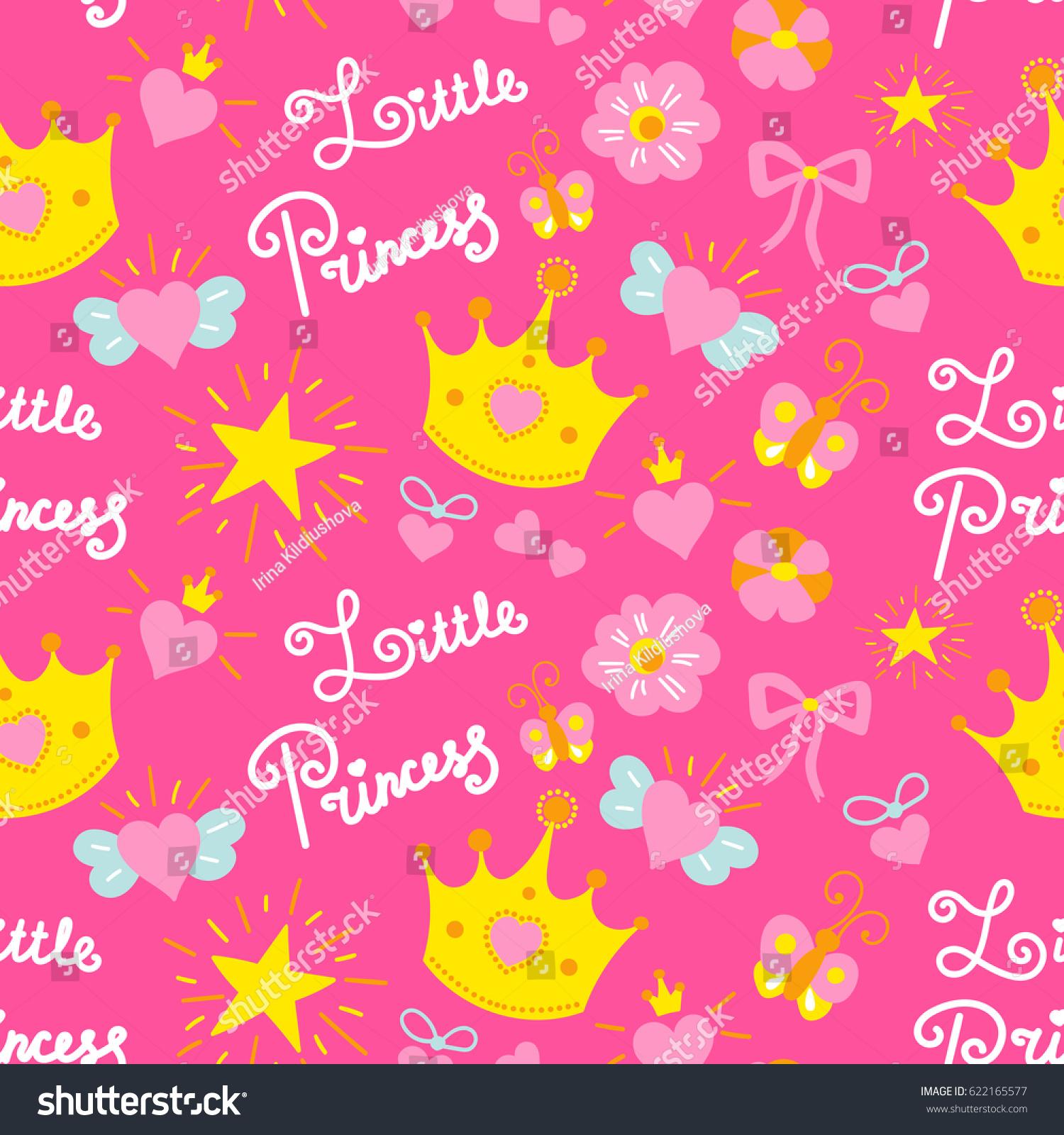 Pink Little Princess Pattern Vector Girl Stock Vector