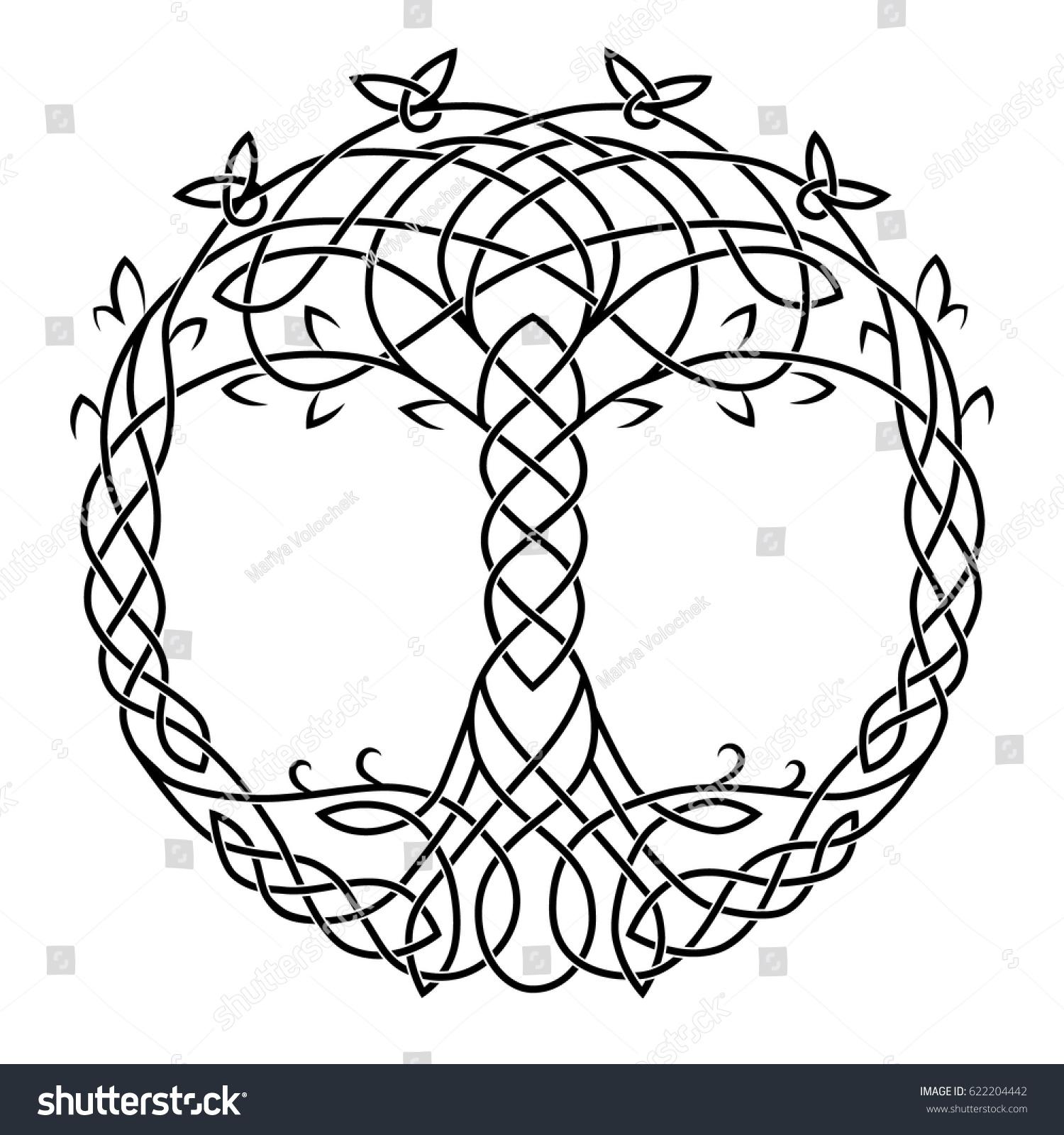Celtic Drawing Symbol Tree Life Black Stock Vector Royalty Free
