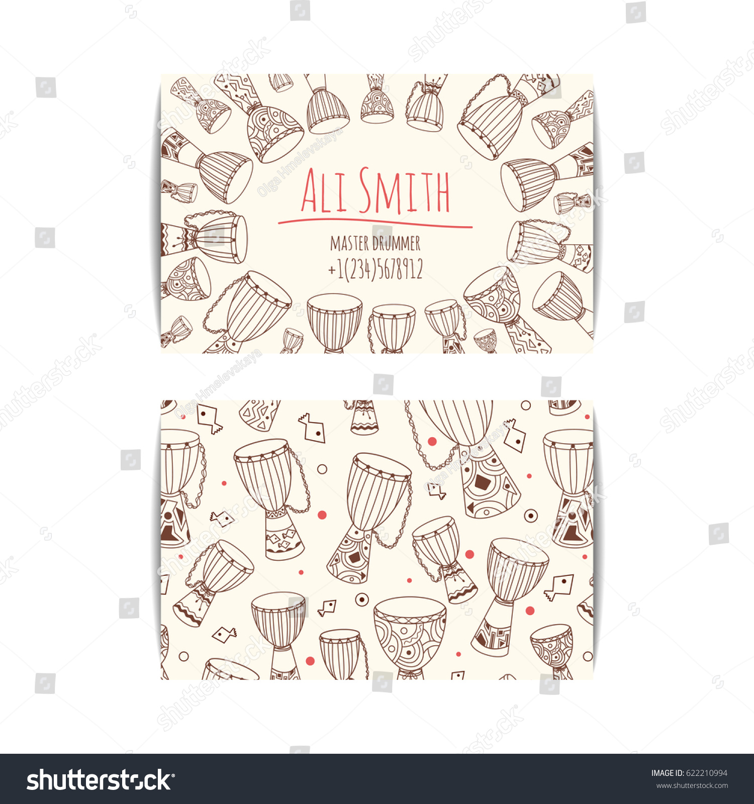 African Drum Visit Card Djembe Master Stock Vector 622210994 ...