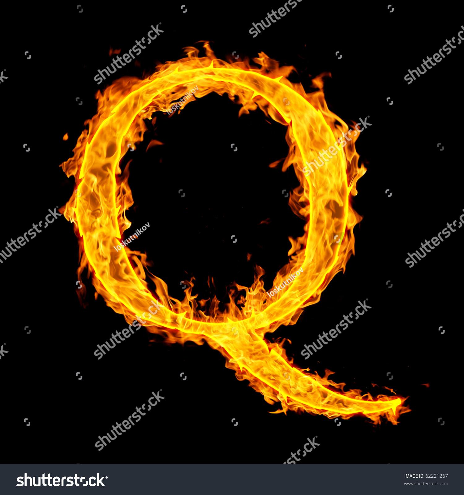 Burning letter q