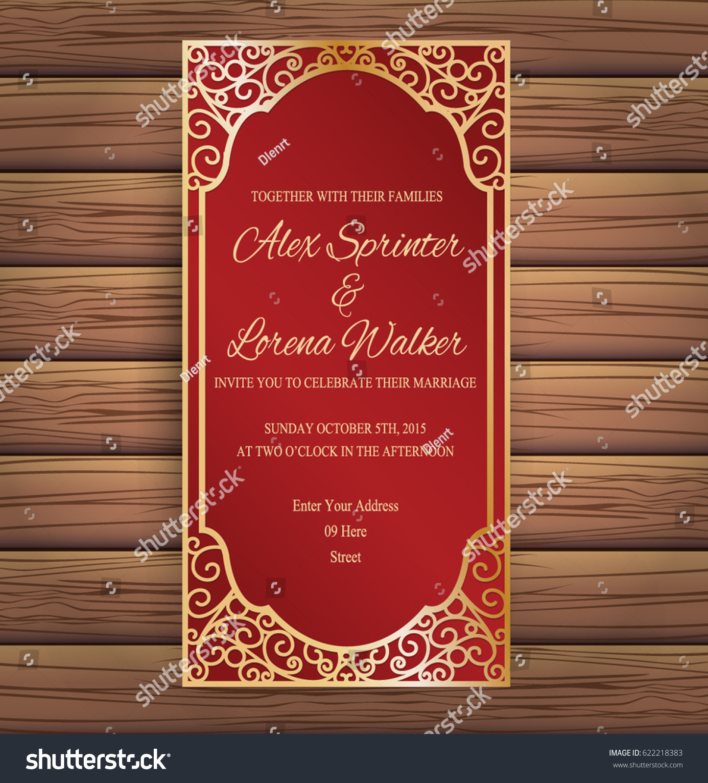 Elegant Red Gold Wedding Invitation Card Stock Vector 622218383 ...