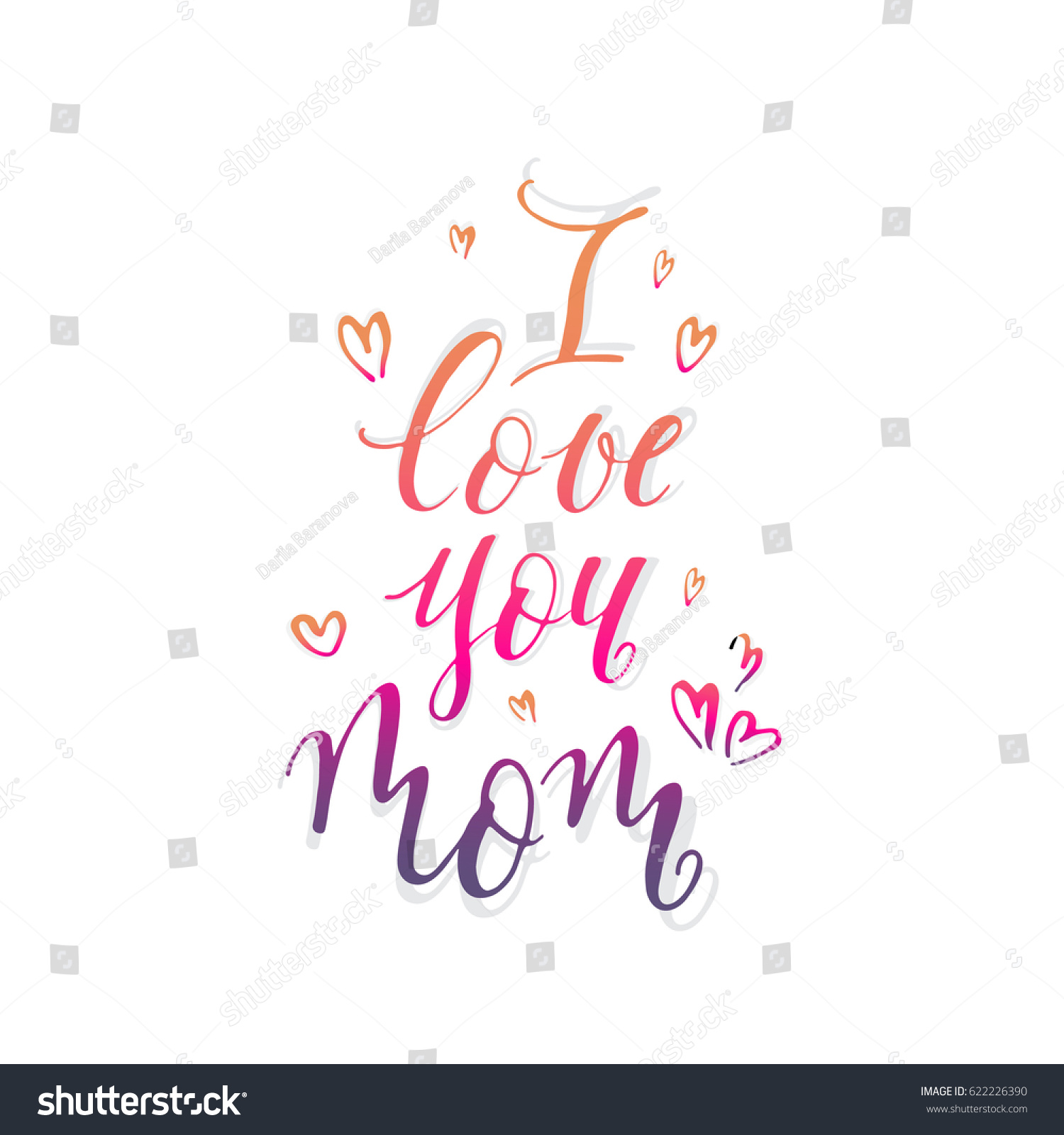 Vector mothers day postcardi love you stock