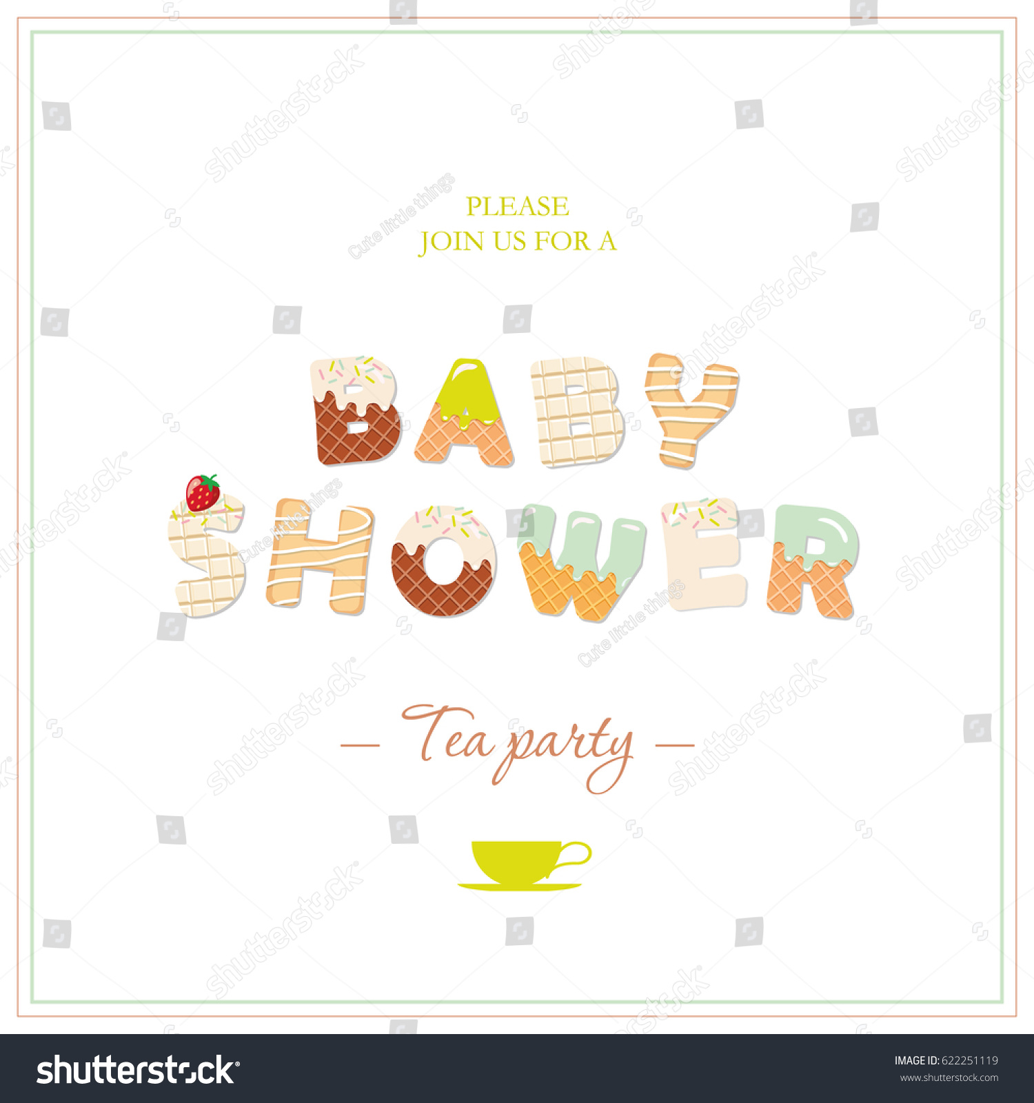 Boy Baby Shower Tea Party Invitation Design. Sweet Decorative Letters In  Pastel Green And Beige