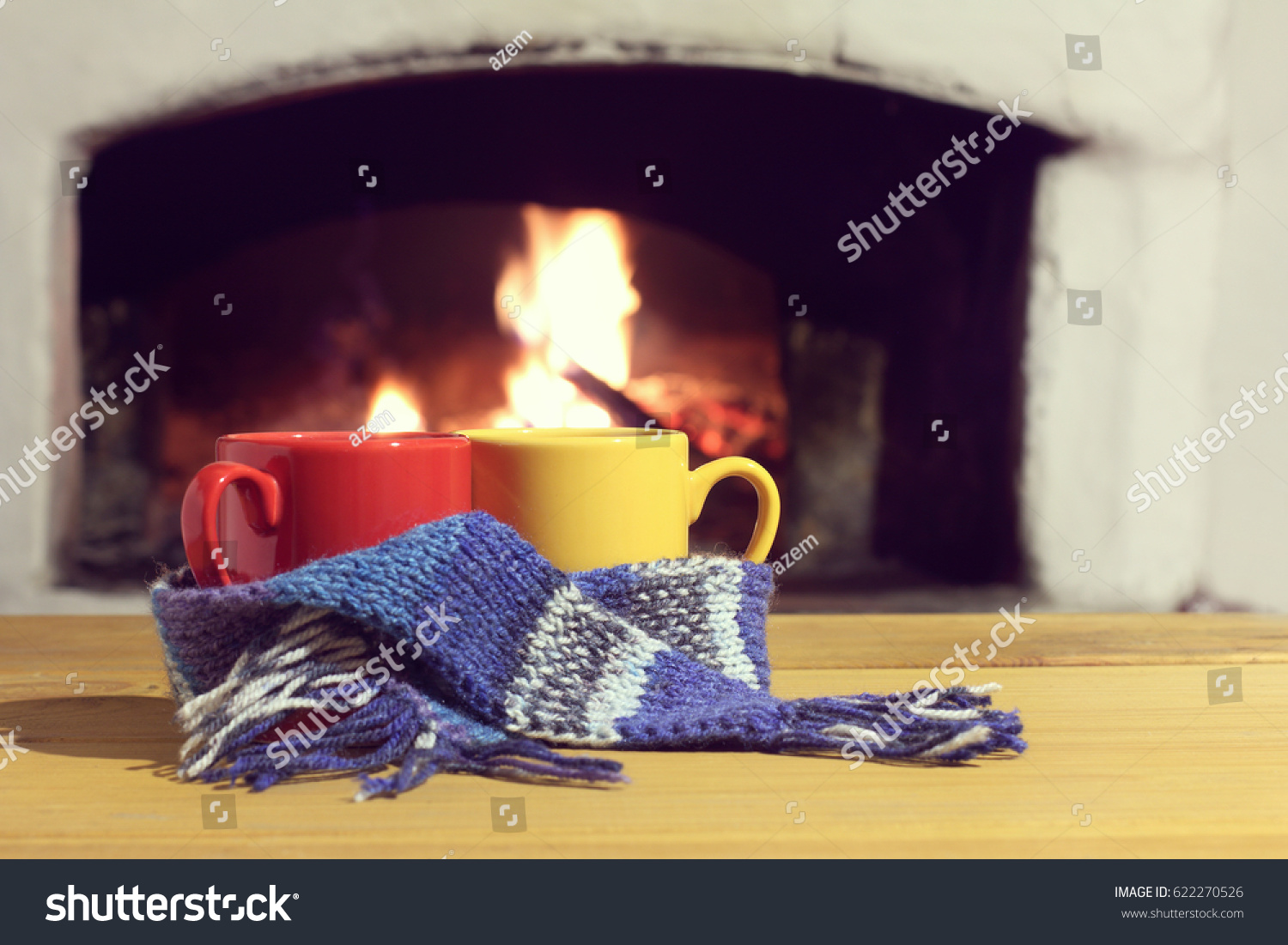 red yellow mugs blue scarf on stock photo 622270526 shutterstock