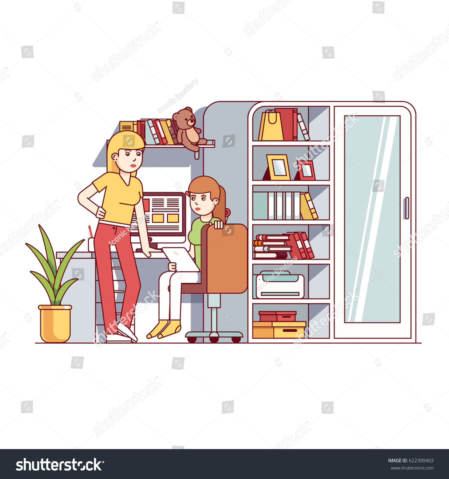 University Student Girls Living Together One Stock Vector 622300403 ...