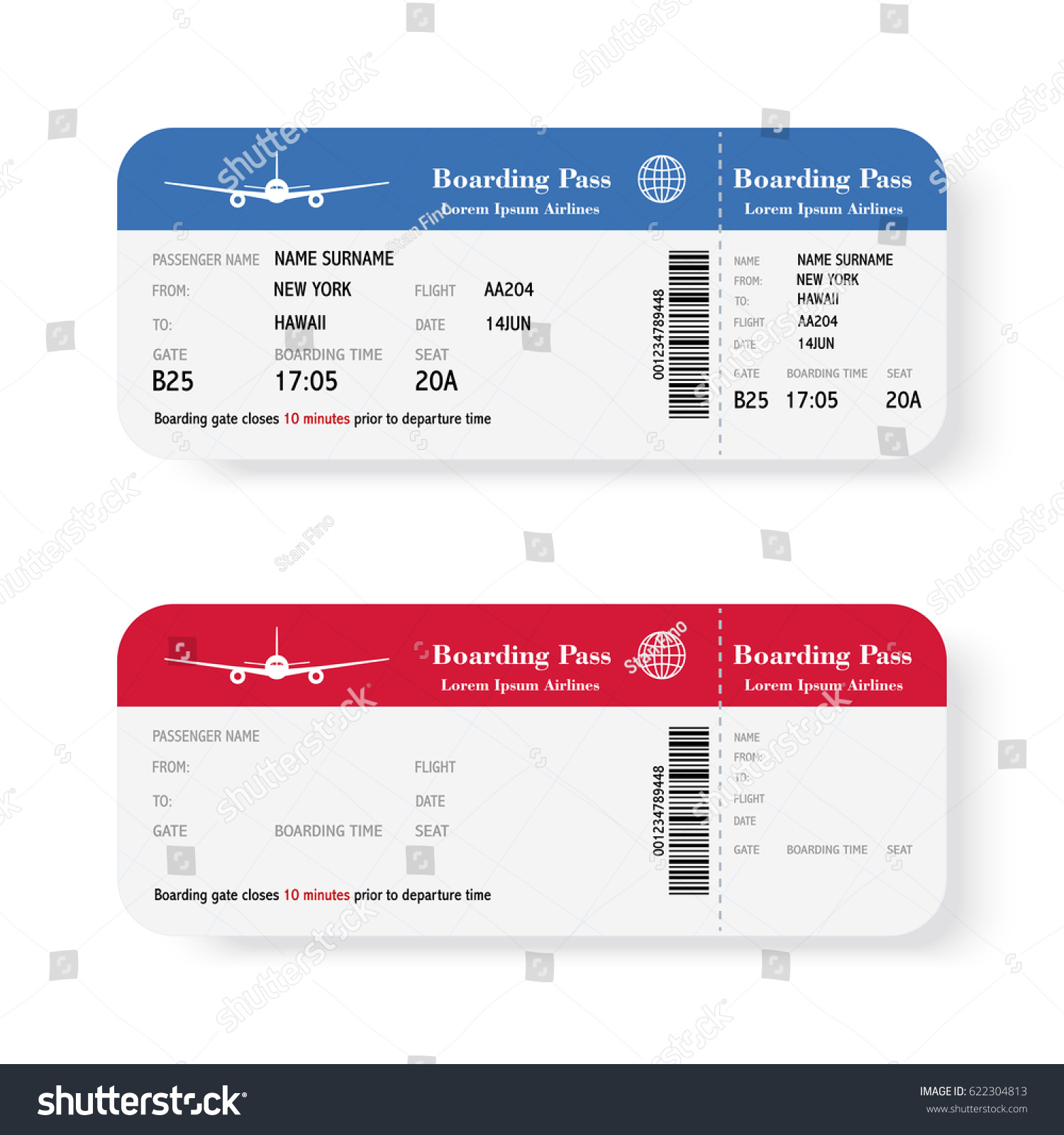 Set Airline Boarding Pass Tickets Shadow Stock Illustration