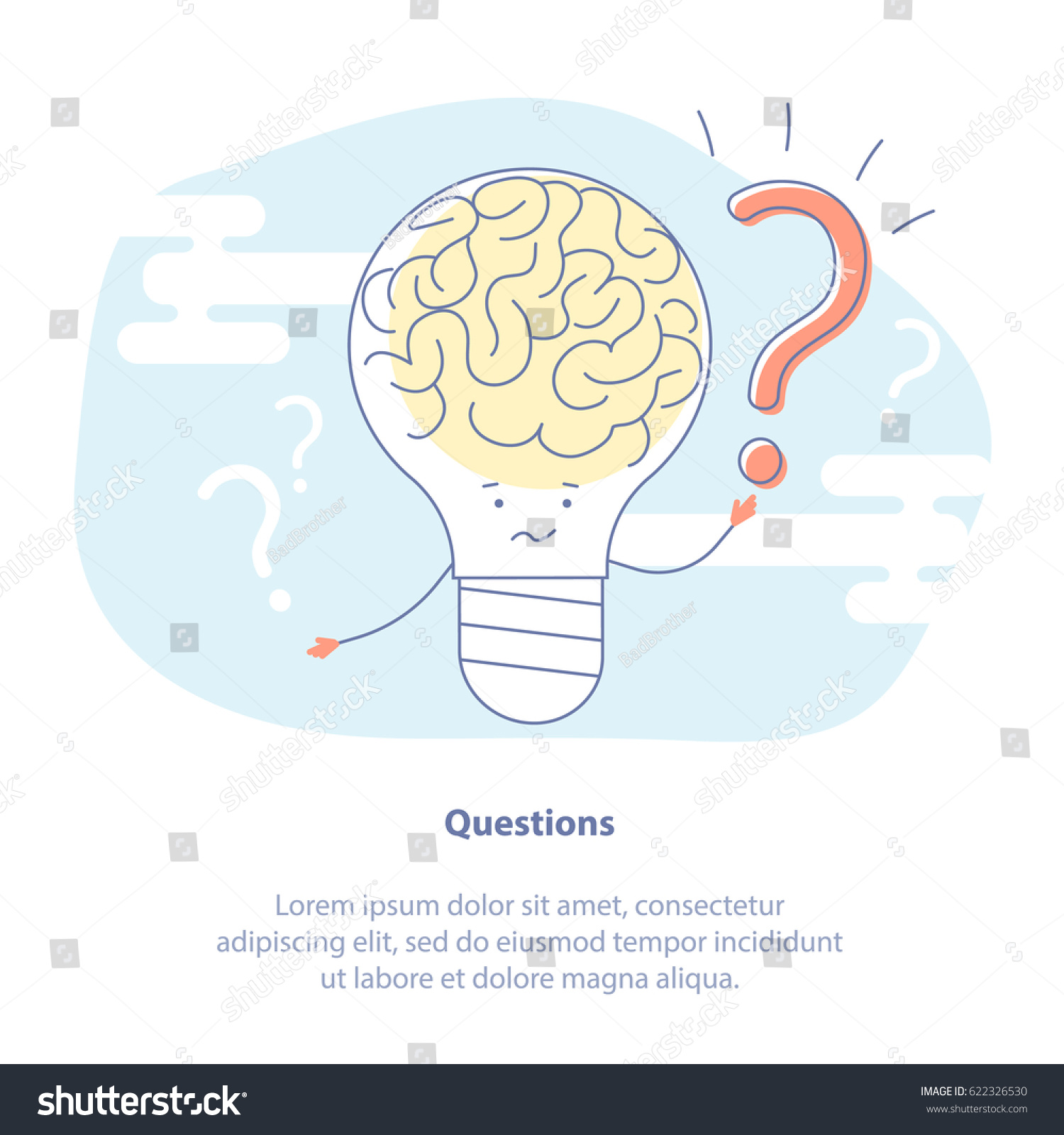 Flat line icon concept answers on stock vector 622326530 flat line icon concept of answers on questions faq manual or new idea generation ccuart Gallery