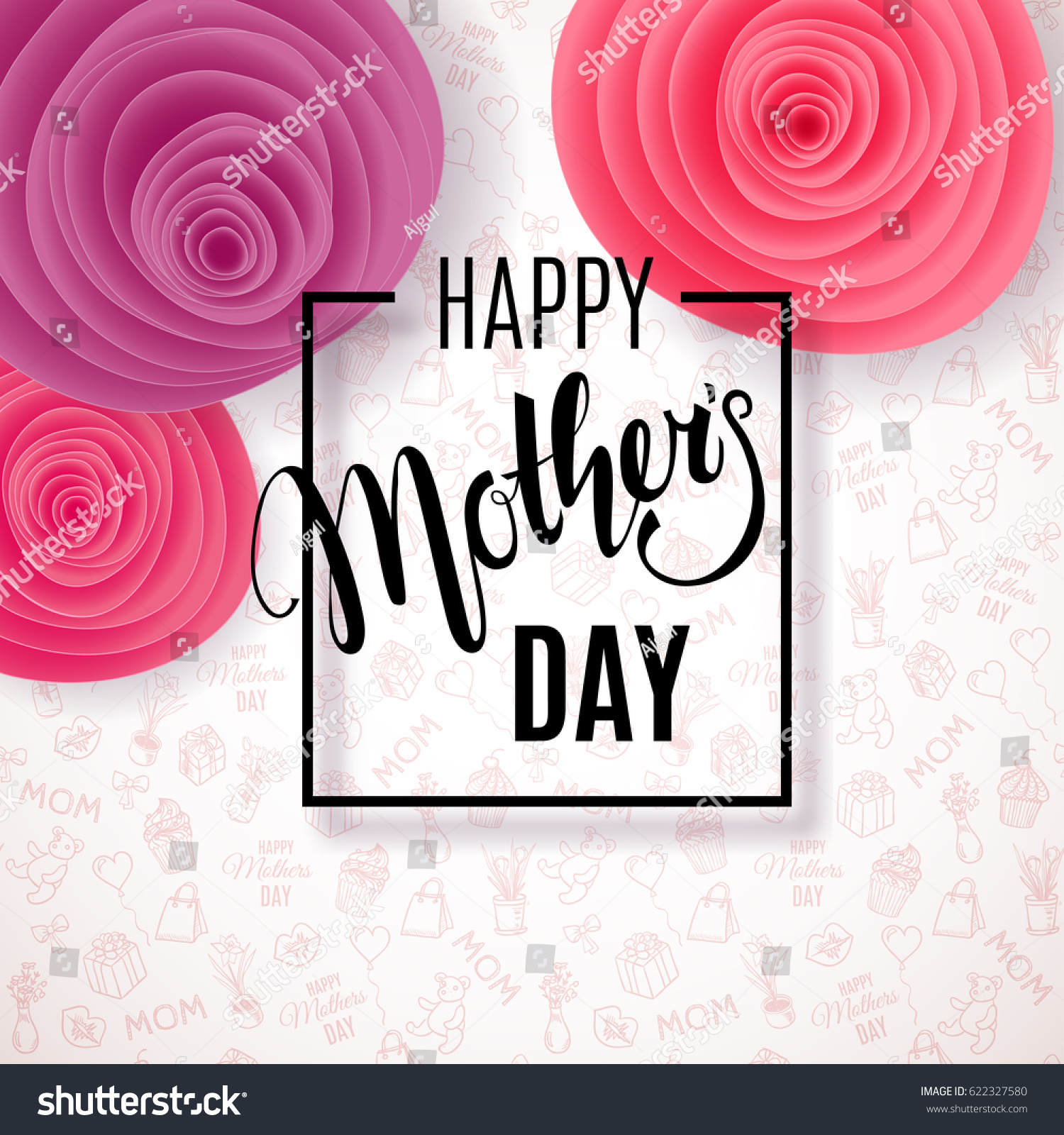 Mothers Day Background Paper Flowers On Stock Vector Royalty Free