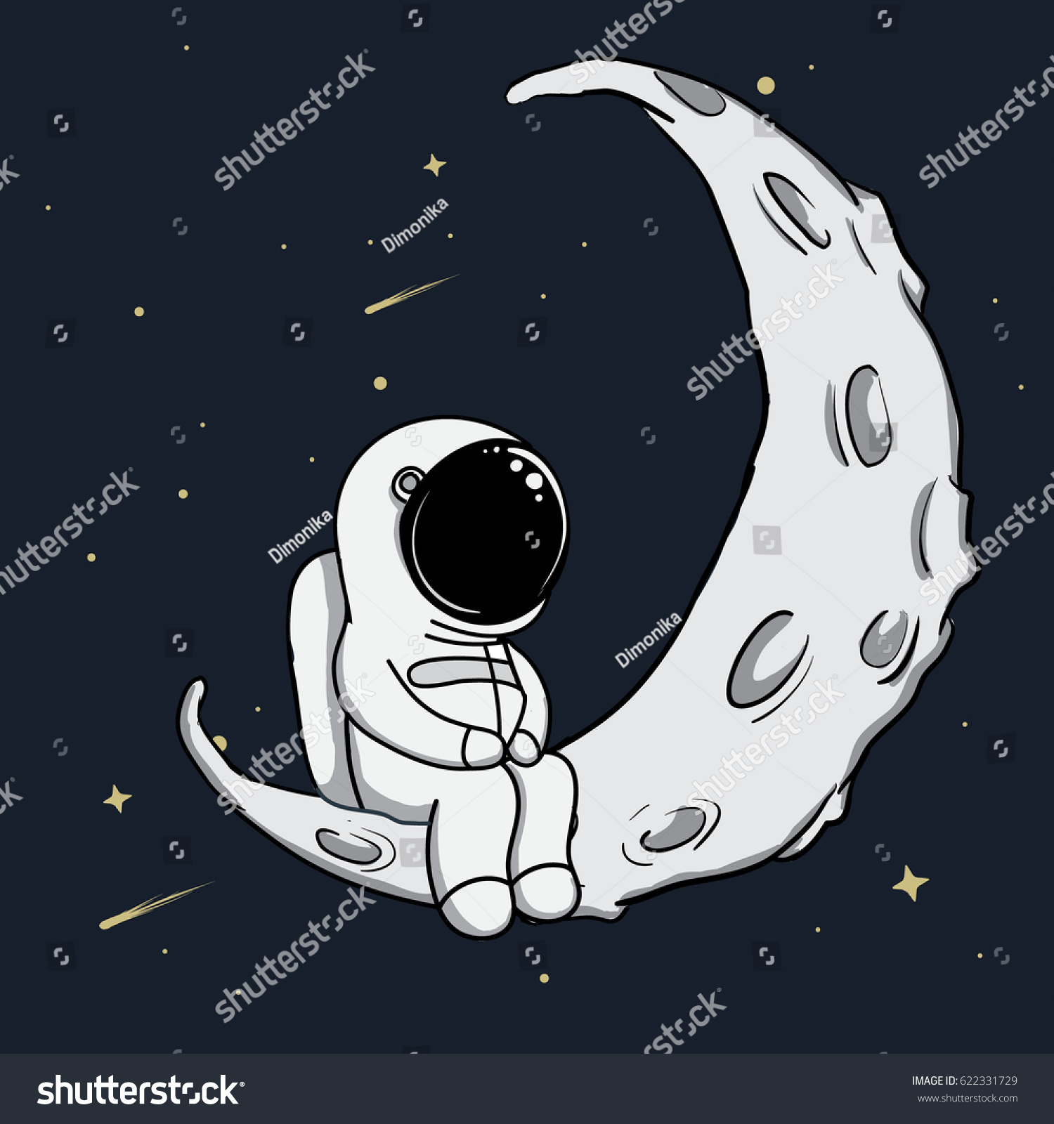 Cute Astronaut Sits On Crescent Moonchildish Stock Vector