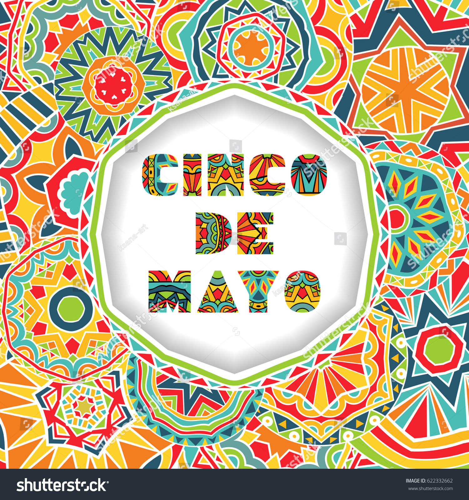 Cinco de mayo card greetings lettering stock vector royalty free cinco de mayo card with greetings lettering and ornate background round cut border with shadow m4hsunfo