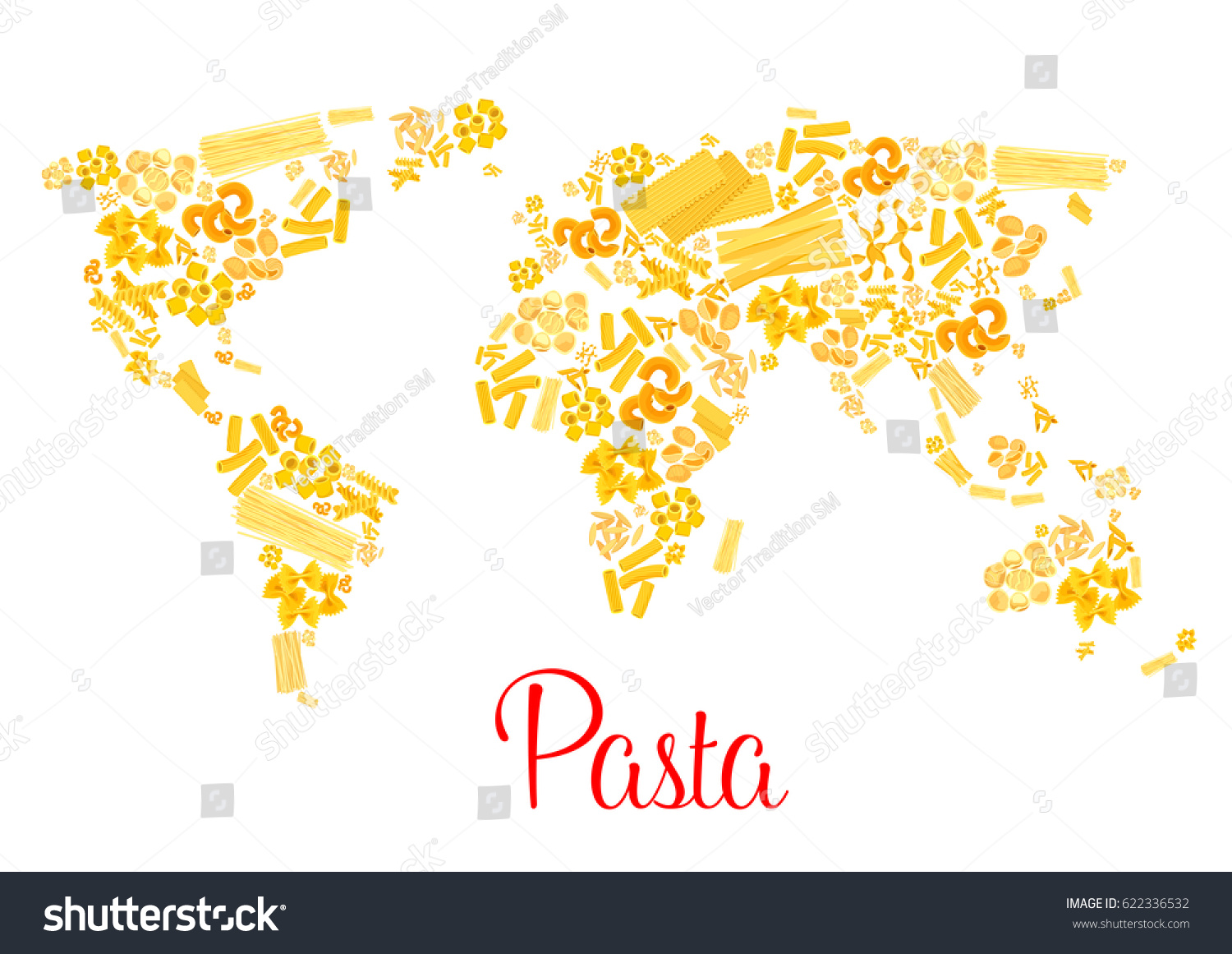 Italian pasta designed world map traditional vector de italian pasta designed world map traditional vector de stock622336532 shutterstock gumiabroncs Gallery