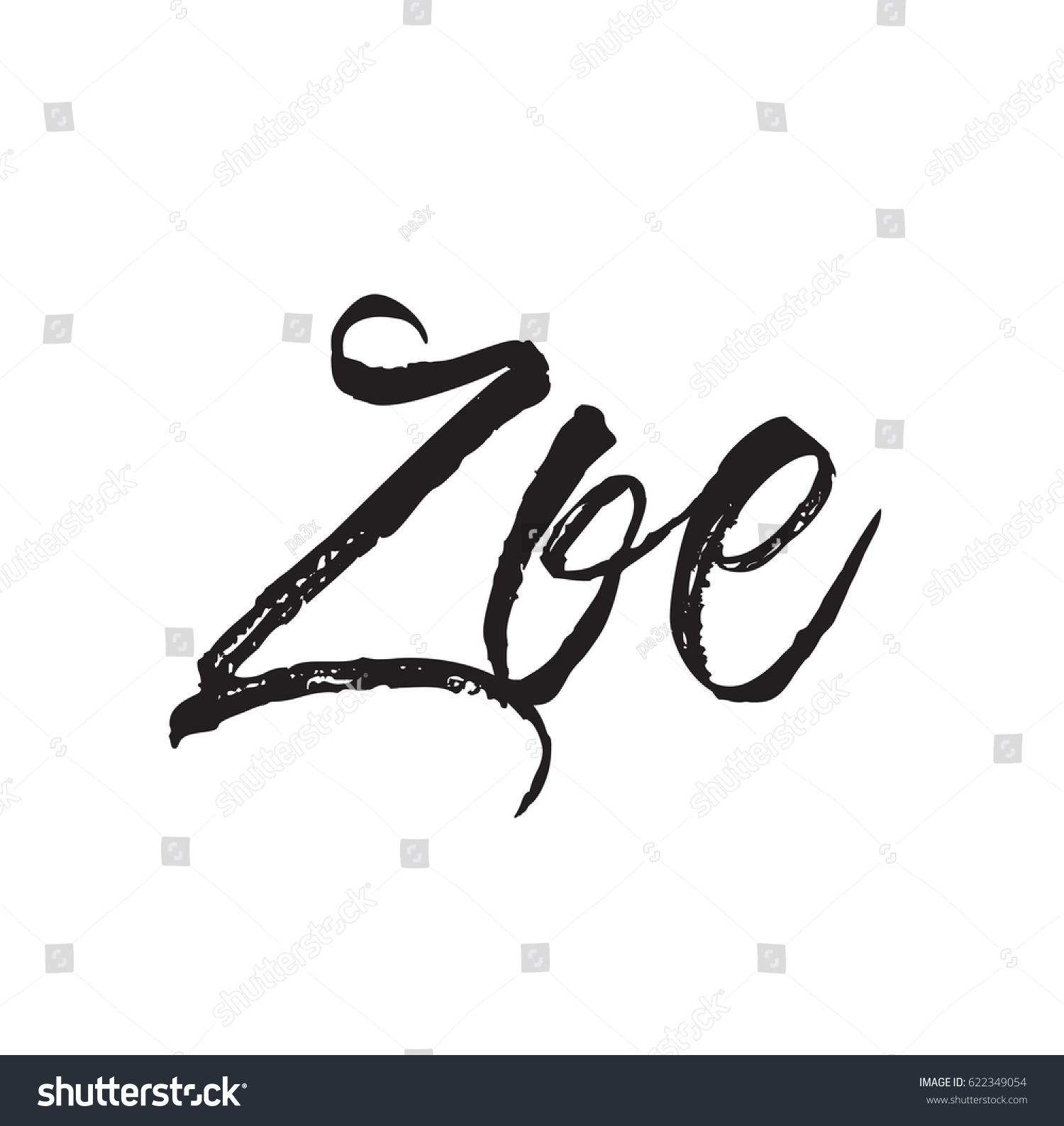 Zoe Text Design Vector Calligraphy Typography Stock Vector