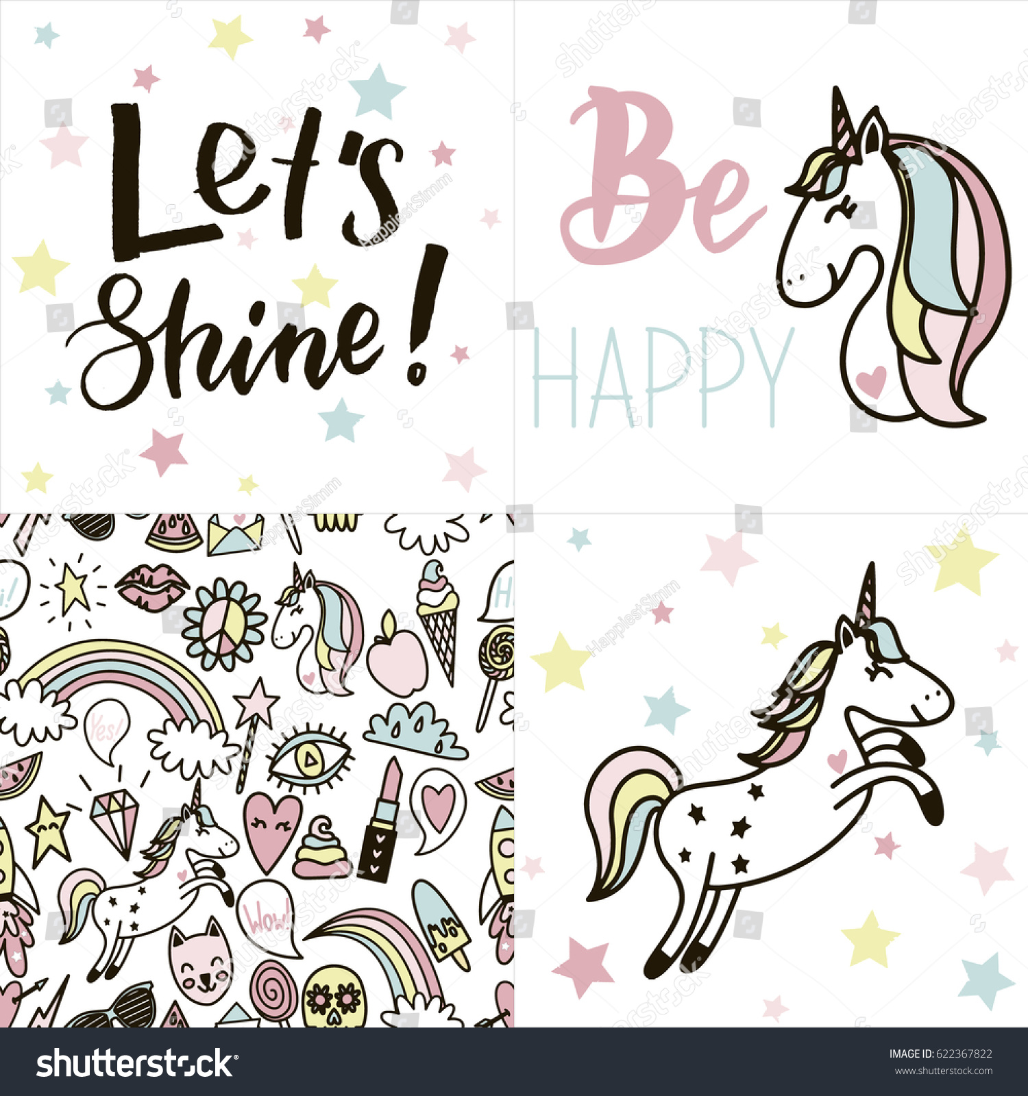 Set Of Cards With Tender Pastel Colored Unicorns Text And Other Funny Stickers Seamless