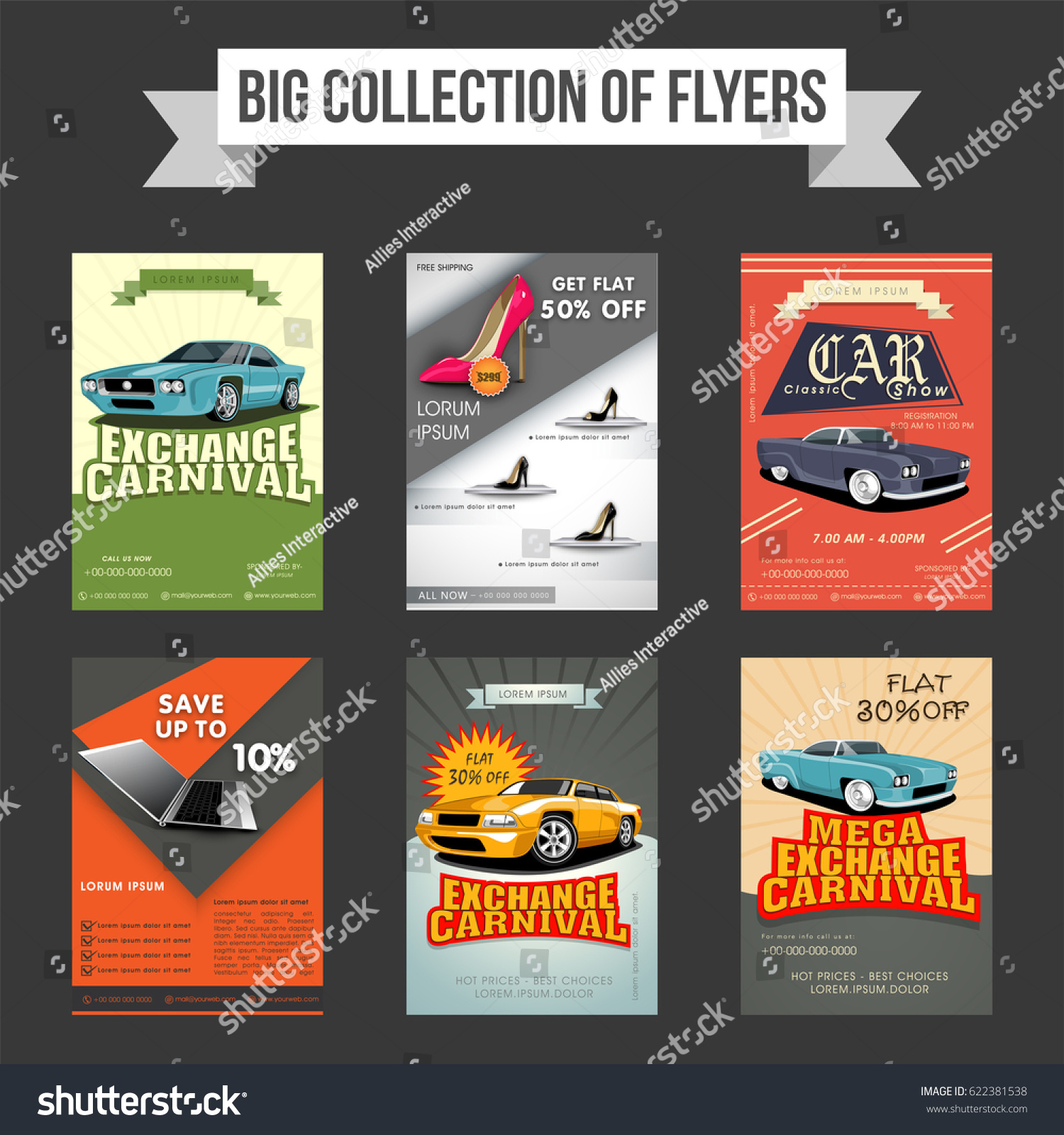Big Collection Six Flyers Templates Banners Vectores En Stock ...