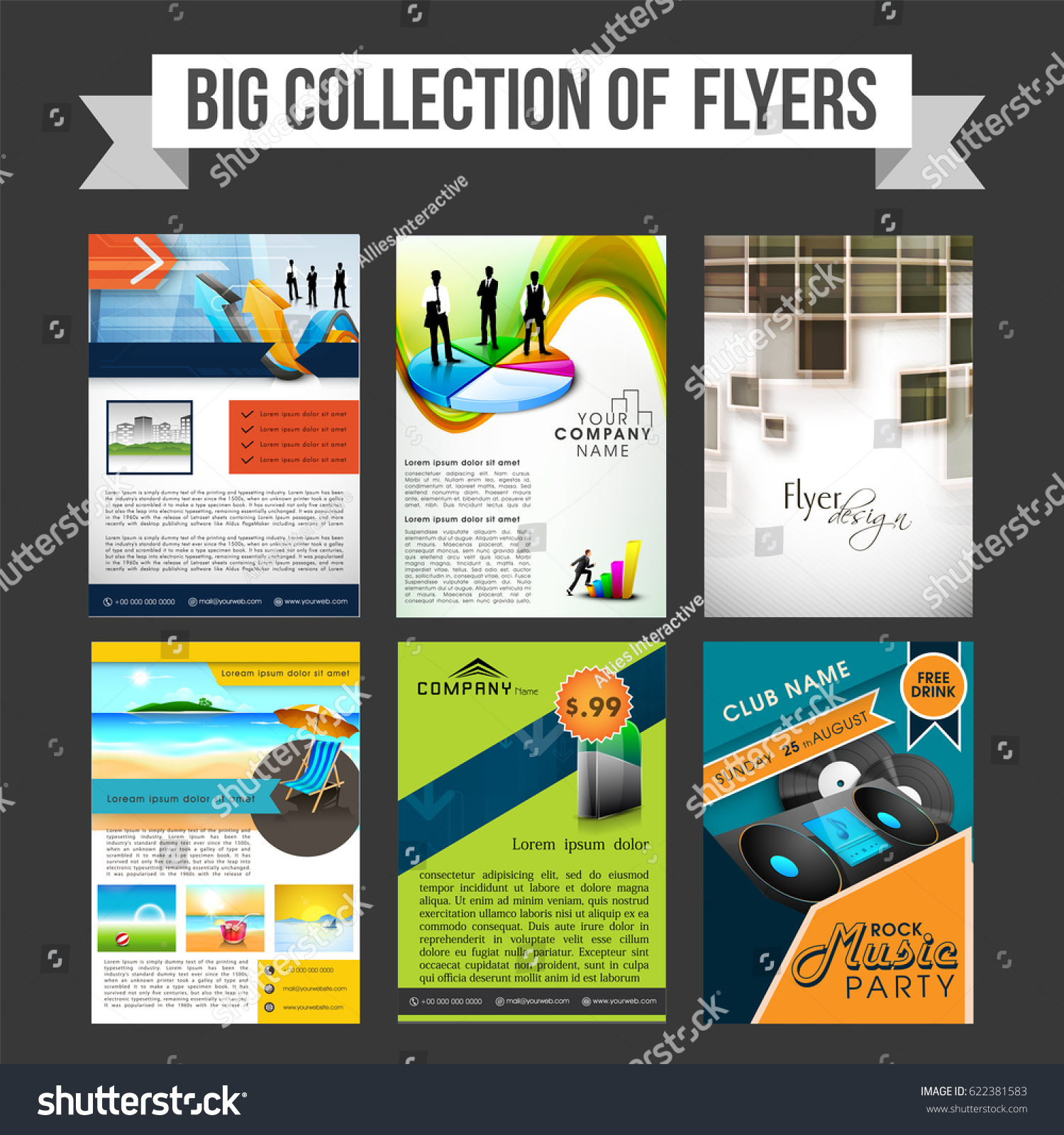 Big Collection Professional Flyers Templates Brochures Stock Vector