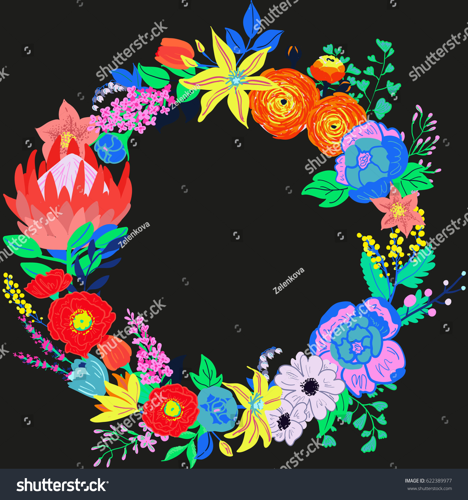Vector Rustic Hand Drawn Floral Composition Bright Spring Flowers Wreath Vibrant