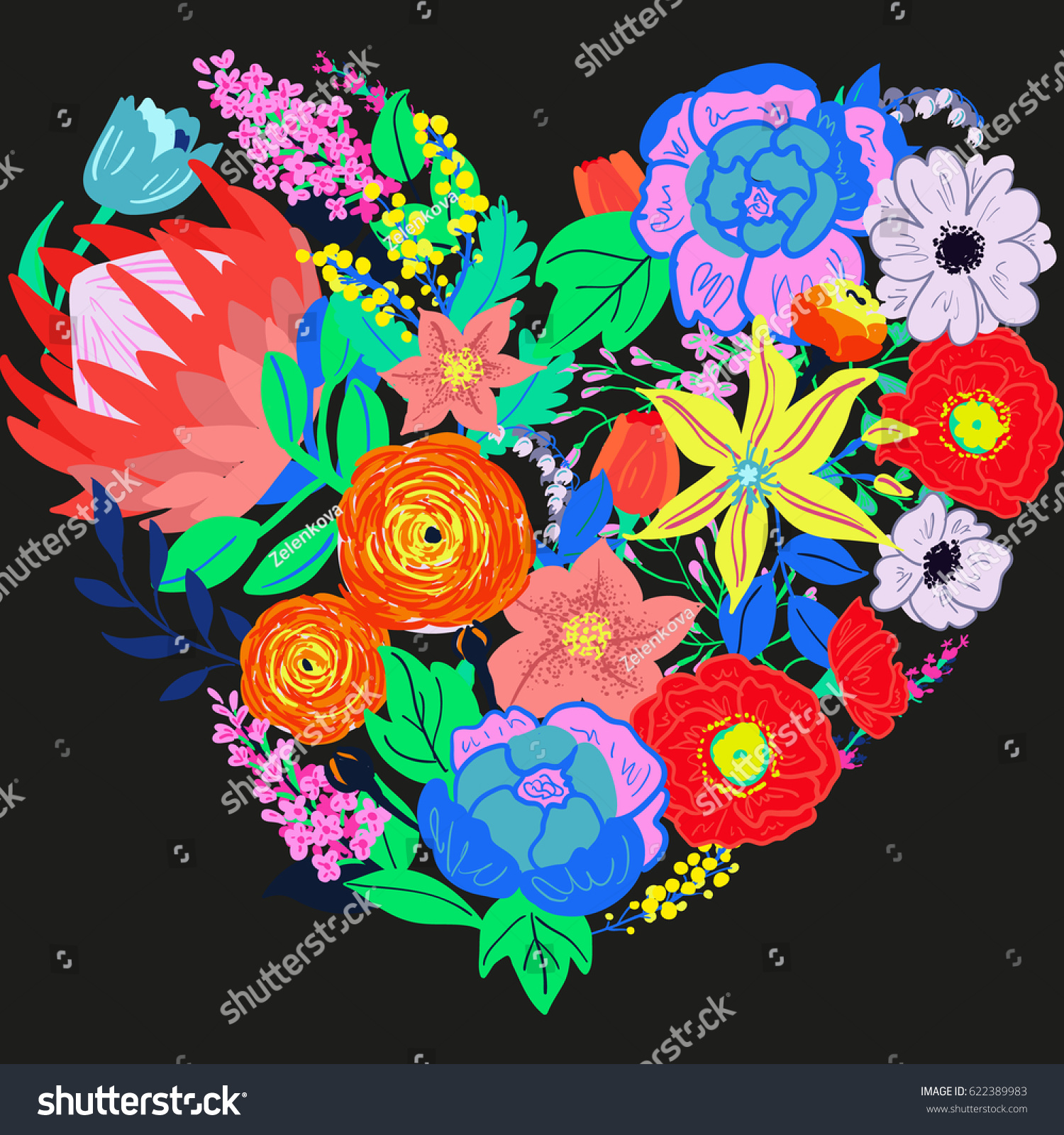 Vector Rustic Flowers Composition Bright Spring Bouquet Heart Shaped Hand Drawn Crazy Vibrant
