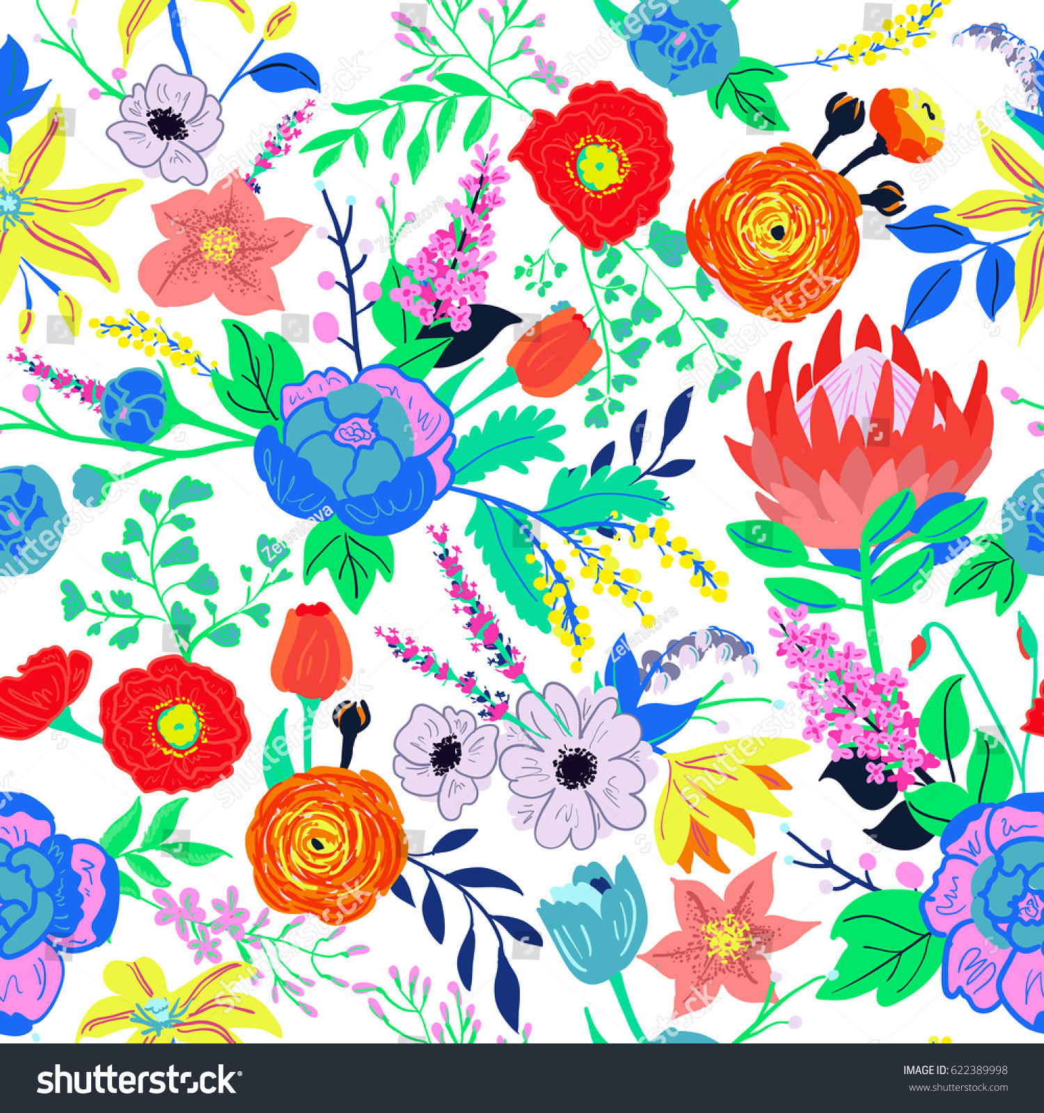 Vector Rustic Flowers Composition Bright Spring Stock Vector