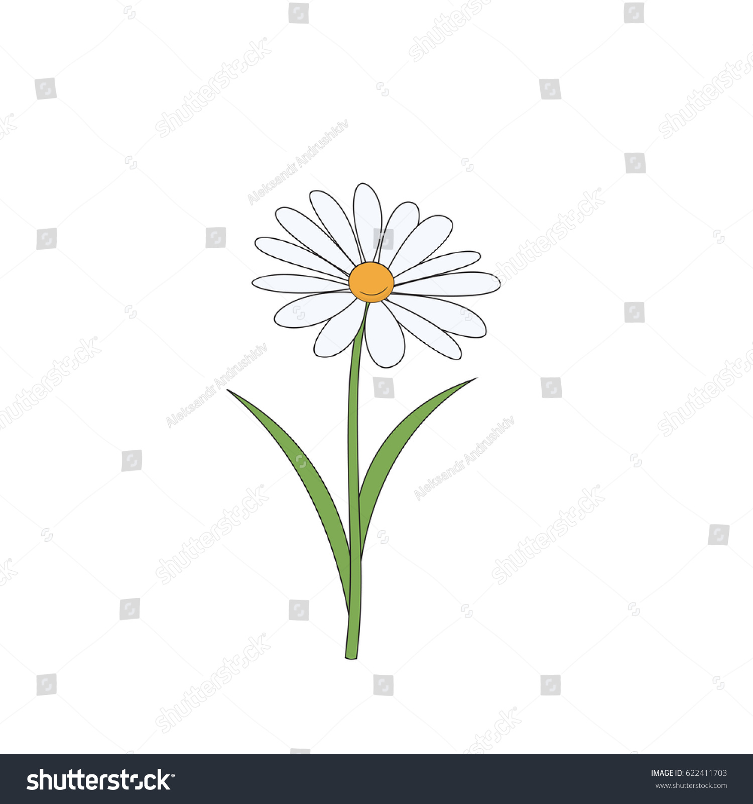 Cartoon Daisy Simple Flower On White Stock Vector Royalty Free