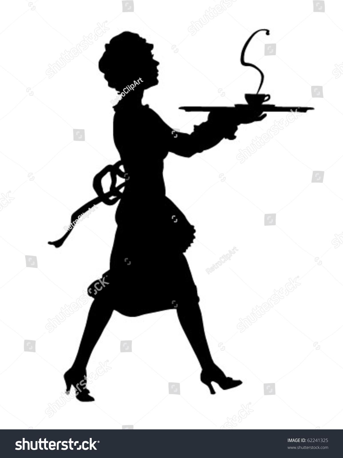 Maid Silhouette Retro Clipart Illustration Stock Vector