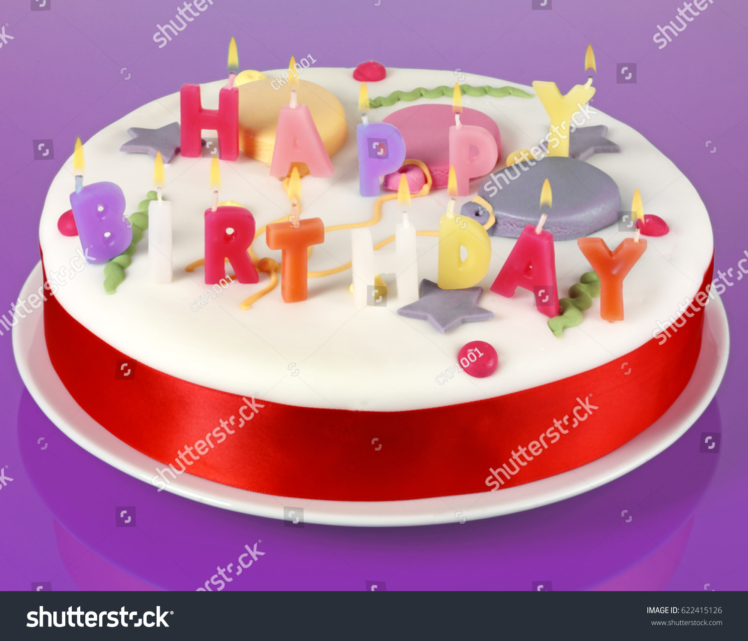 Round White Iced Birthday Cake On Stock Photo Royalty Free