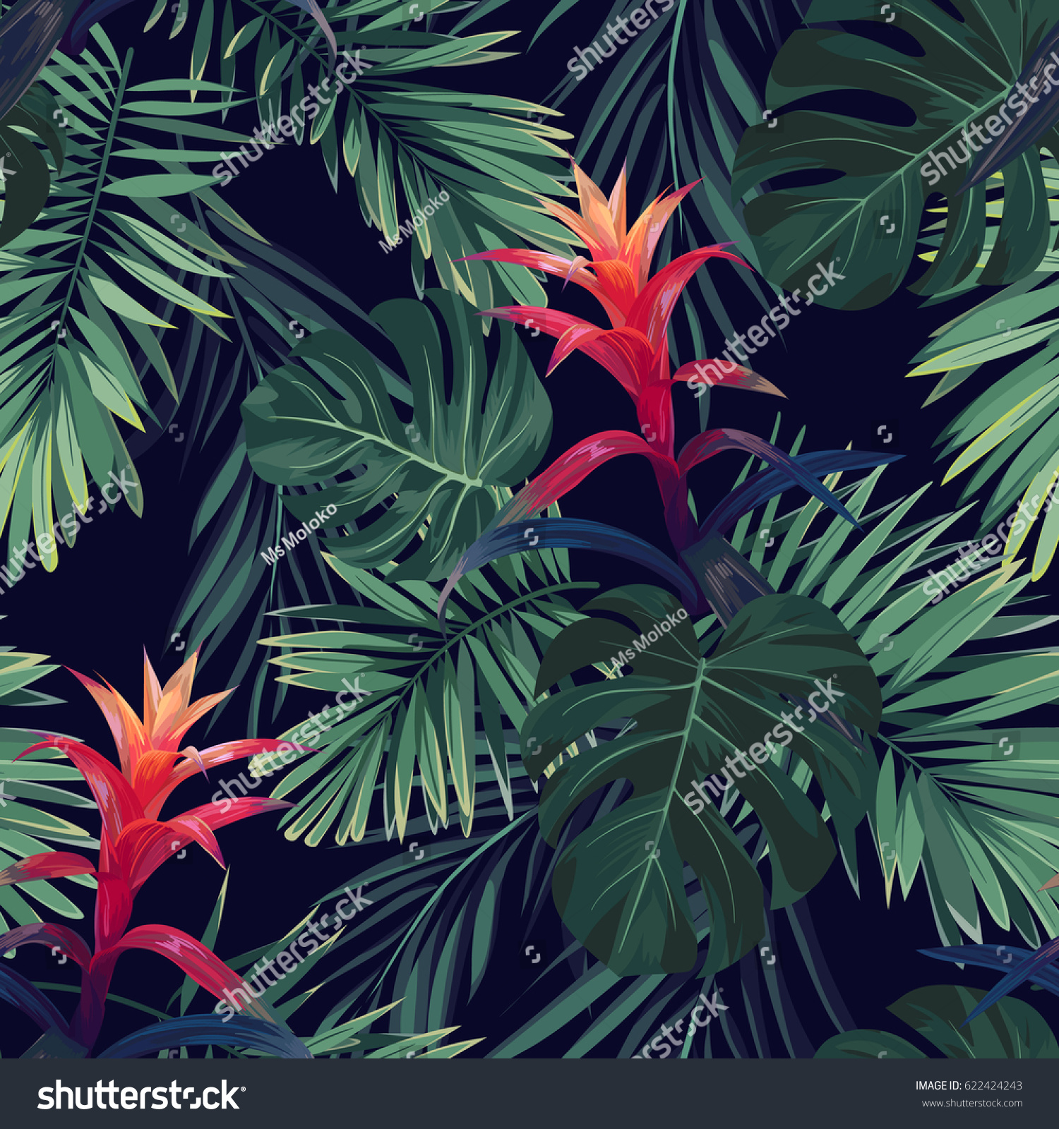 Hand drawn seamless floral pattern with guzmania flowers monstera and royal palm leaves exotic hawaiian background illustration illustration