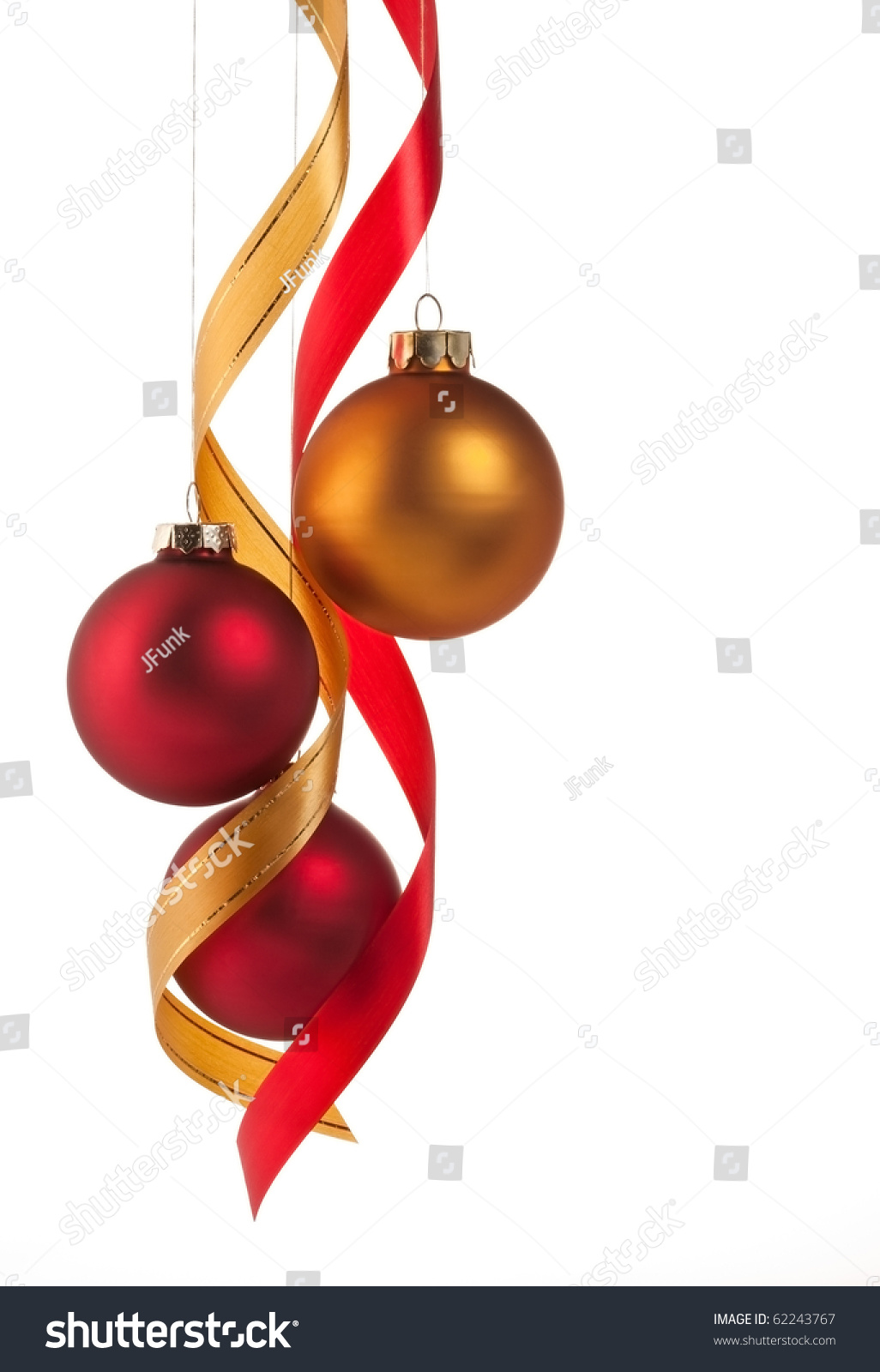 Red and gold christmas ornaments - Traditional Red And Gold Christmas Ball Ornaments With Ribbons On White Preview Save To A Lightbox