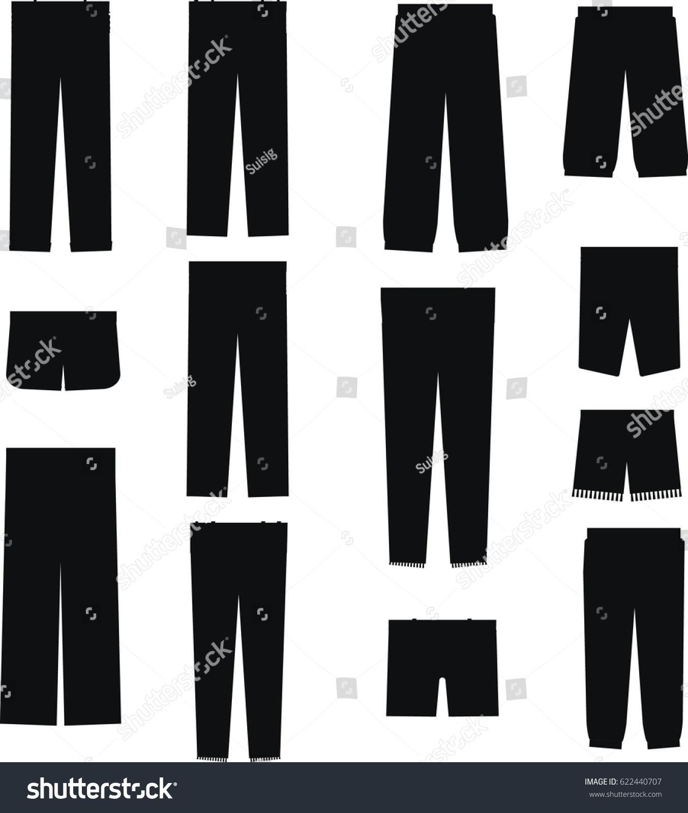 9eb990e4662 Stock vector set of men and women trousers jeans shorts fashion black  silhouette icons isolated jpg