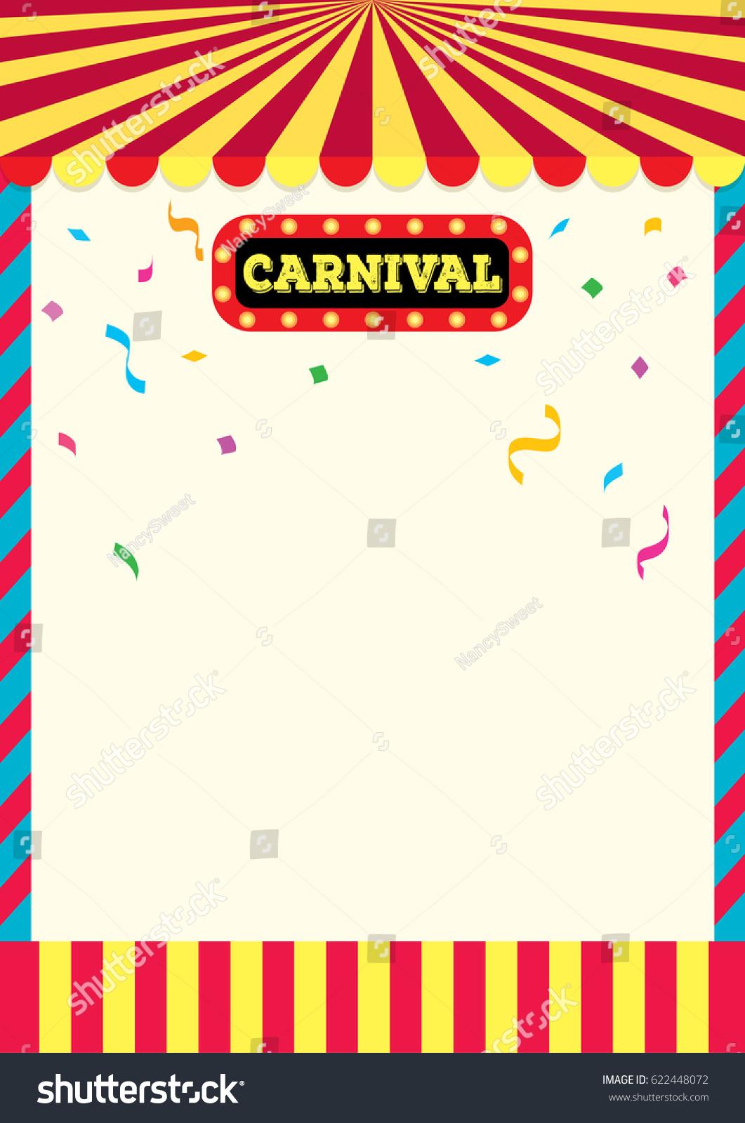 Carnival Sign Frame Design Background Template Stock Vector Royalty
