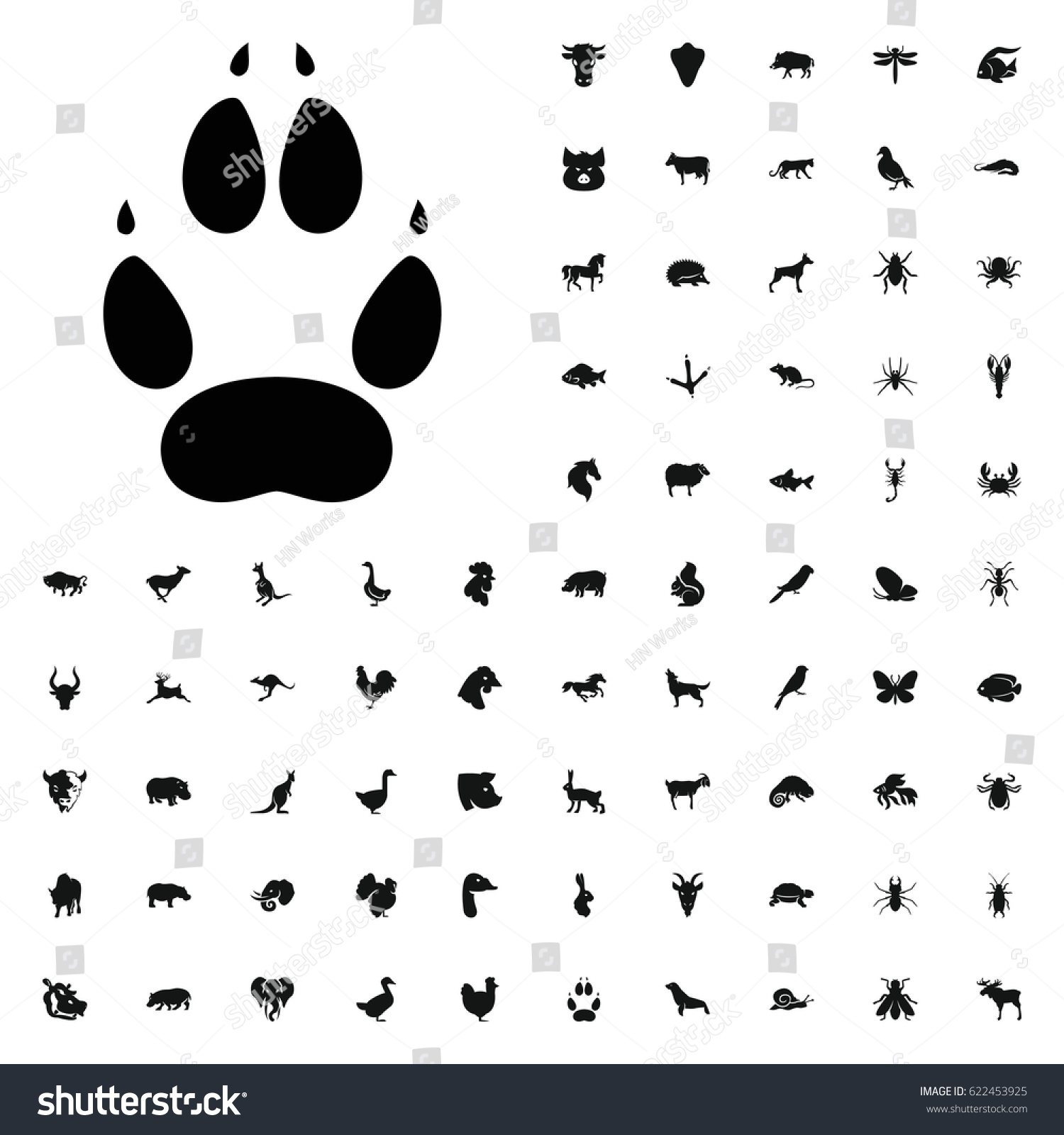 Animal Paw Icon Illustration Isolated Vector Stock Vector Royalty