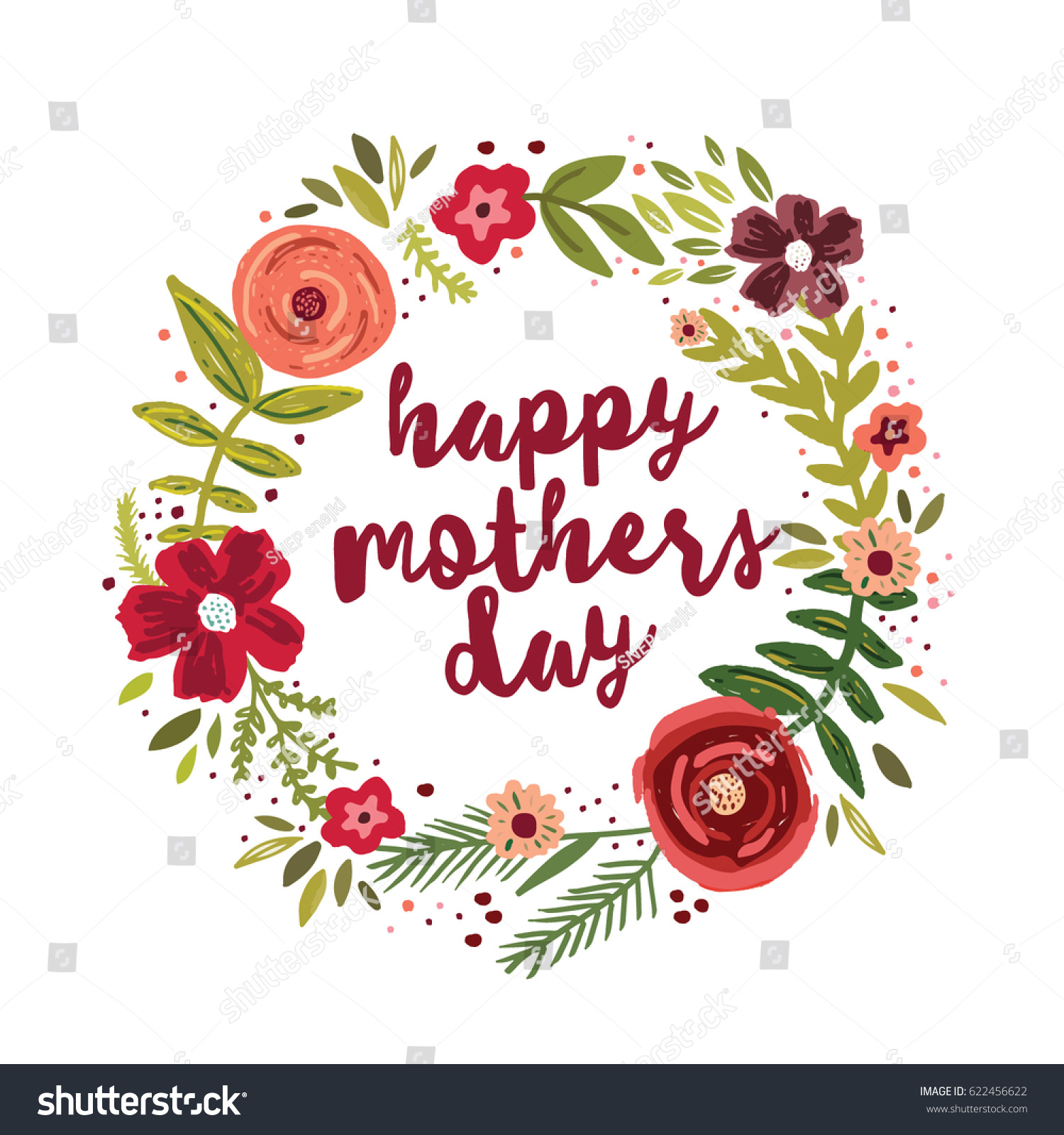 Happy Mothers Day Greetings Card Stock Vector 622456622 Shutterstock