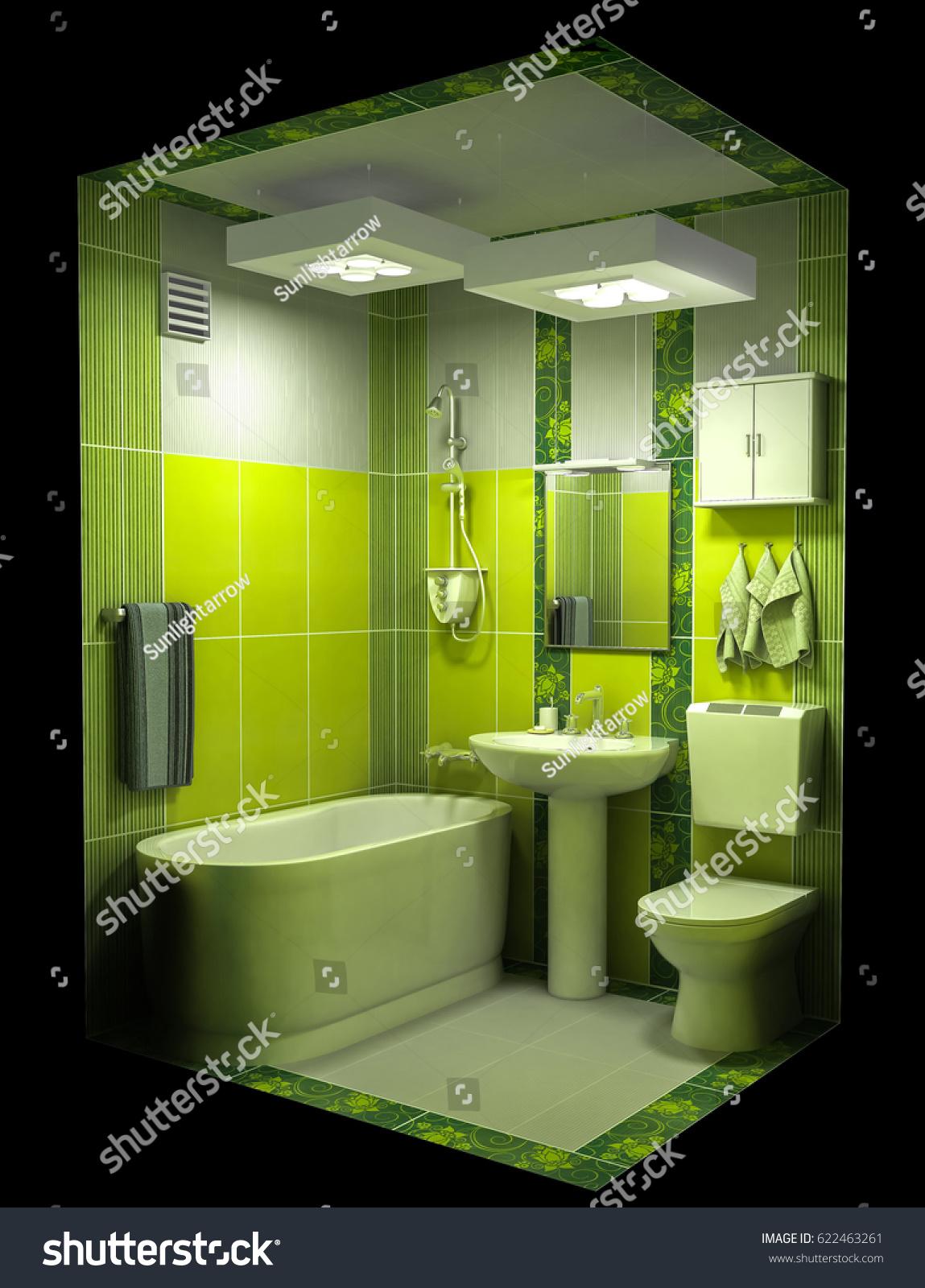 3 D Render Bathroom Interior Green Shades Stock Illustration ...