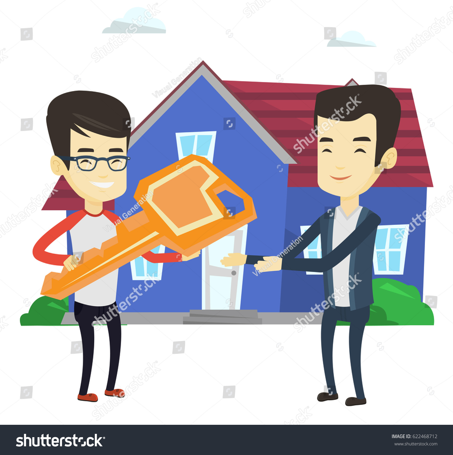 Asian Real Estate Agent Passing House Stock Vector