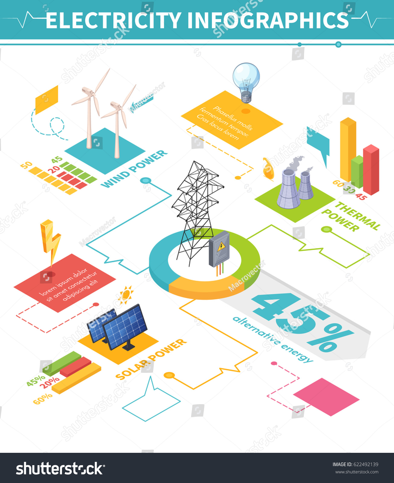 Electricity Isometric Infographics Image Compositions Representing ...