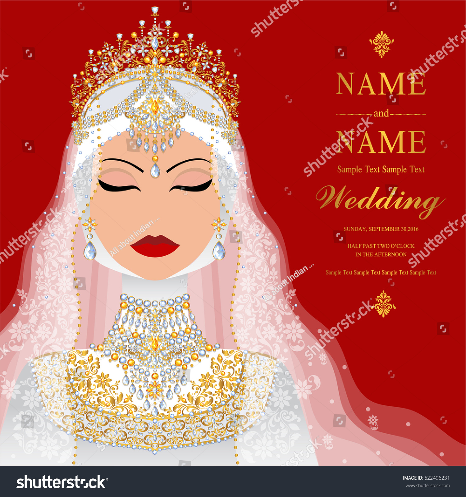 Wedding Invitation Card Templates Muslim Women Stock Vector HD ...