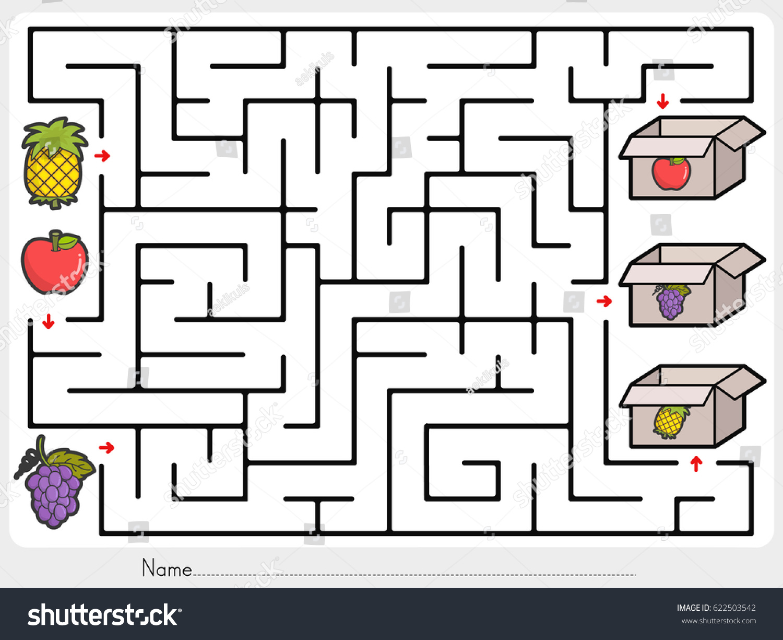 maze game pick fruits box worksheet のベクター画像素材