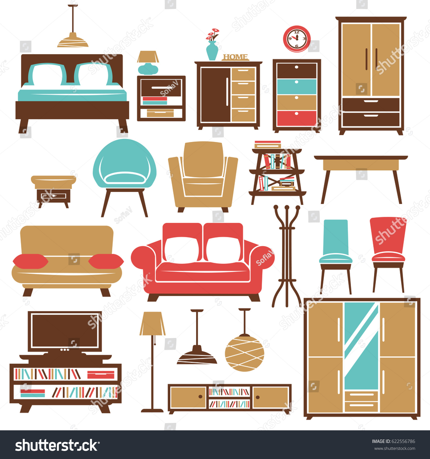 Home Furniture Room Interior Accessories Vector Stock Vector