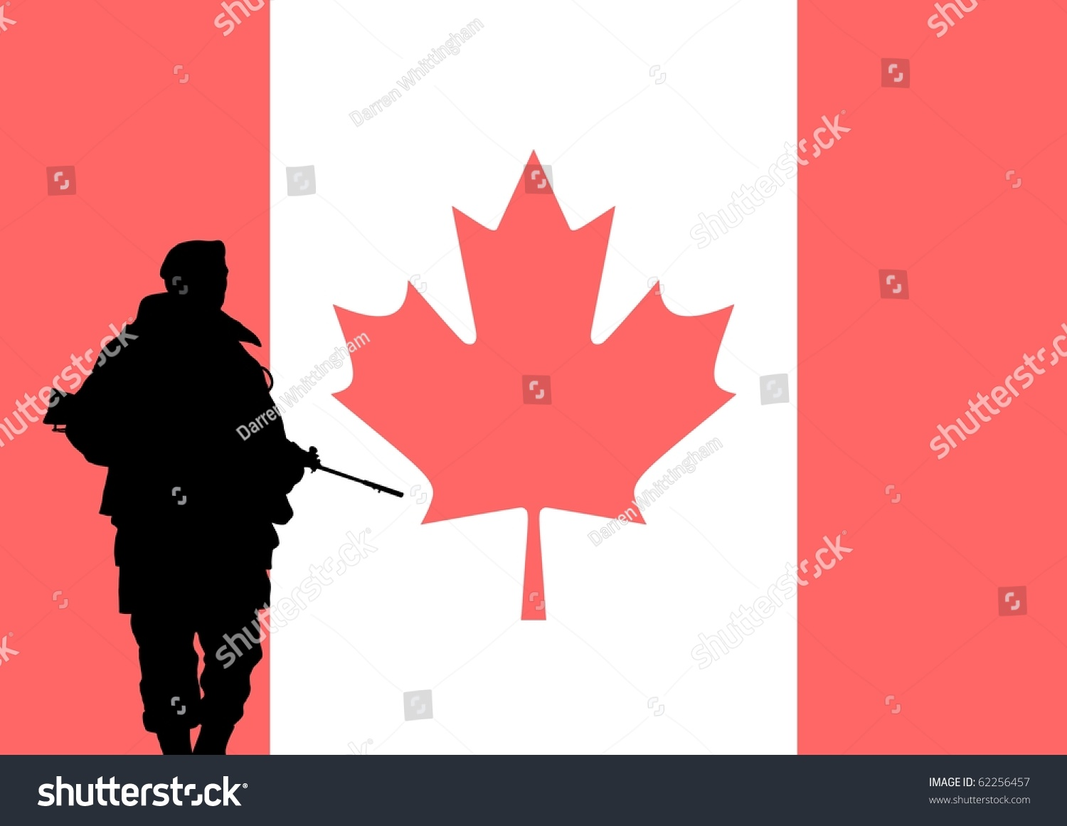 Silhouette Of A Canadian Soldier With The Flag Of Canada ...